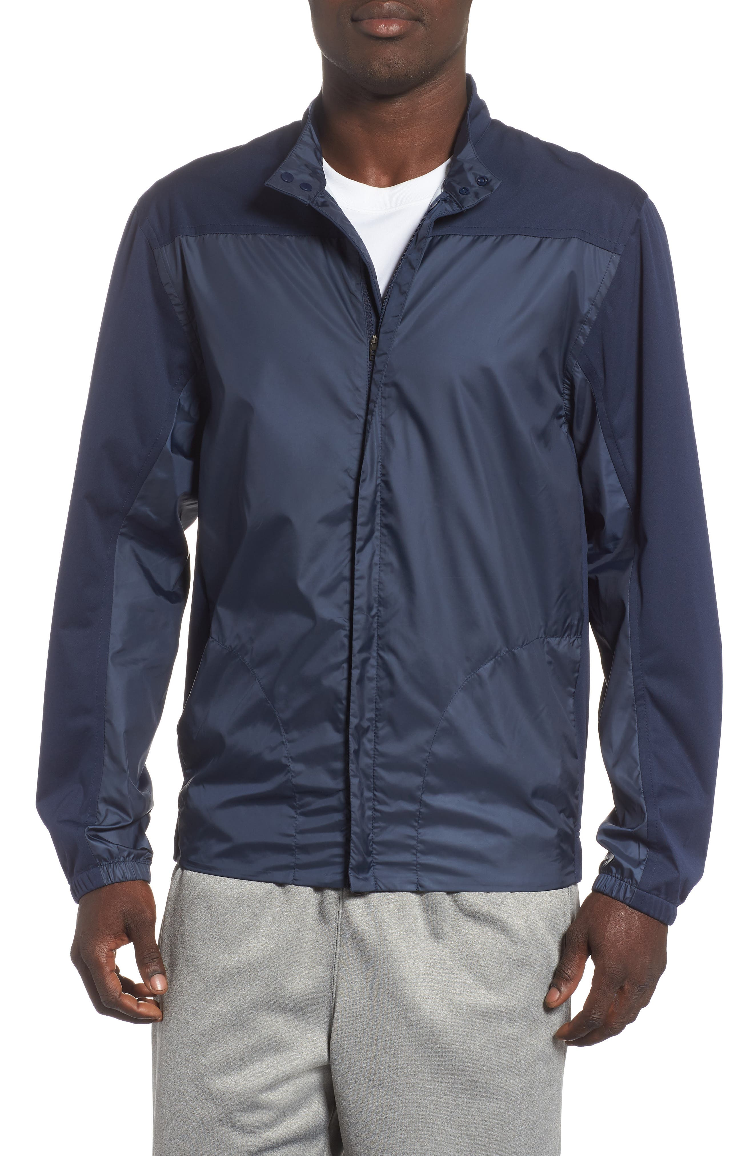 Shield Core Zip Golf Jacket,                             Main thumbnail 1, color,                             OBSIDIAN/ OBSIDIAN/ BLACK