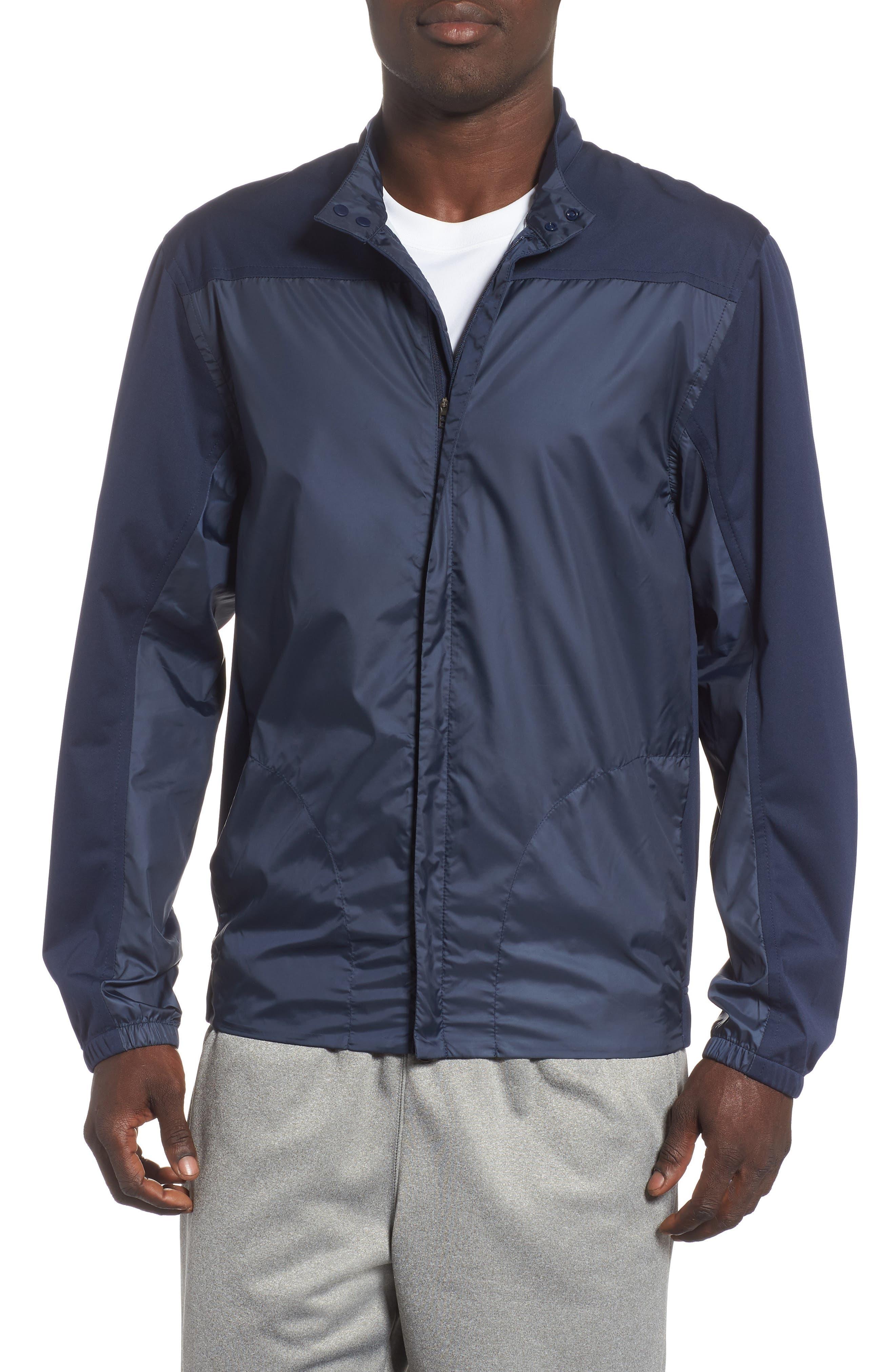 Shield Core Zip Golf Jacket,                         Main,                         color, OBSIDIAN/ OBSIDIAN/ BLACK