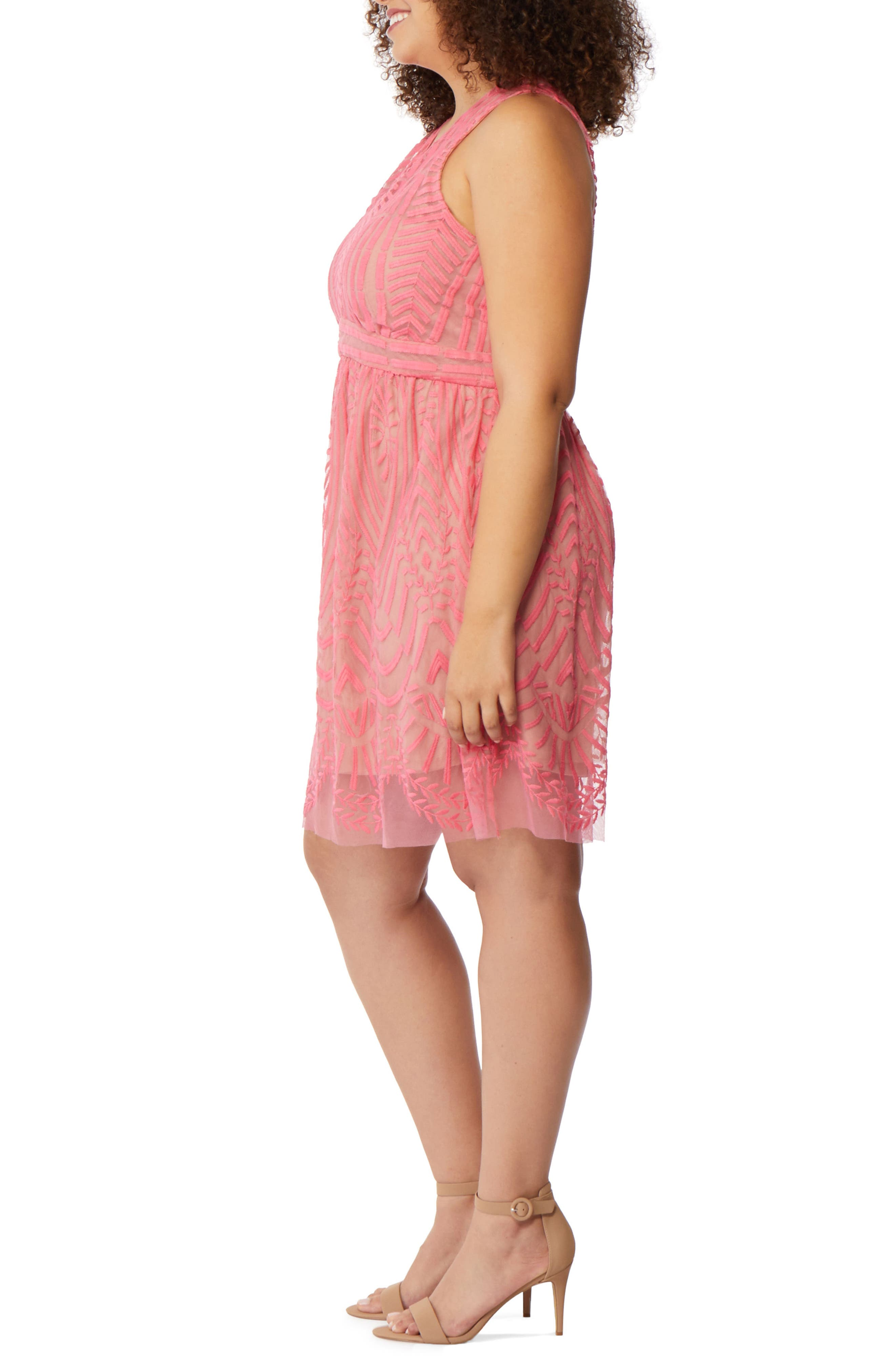 Embroidered Mesh A-Line Dress,                             Alternate thumbnail 3, color,