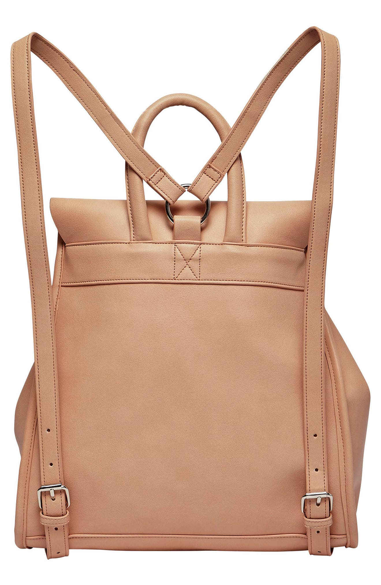 Midnight Vegan Leather Flap Backpack,                             Alternate thumbnail 4, color,