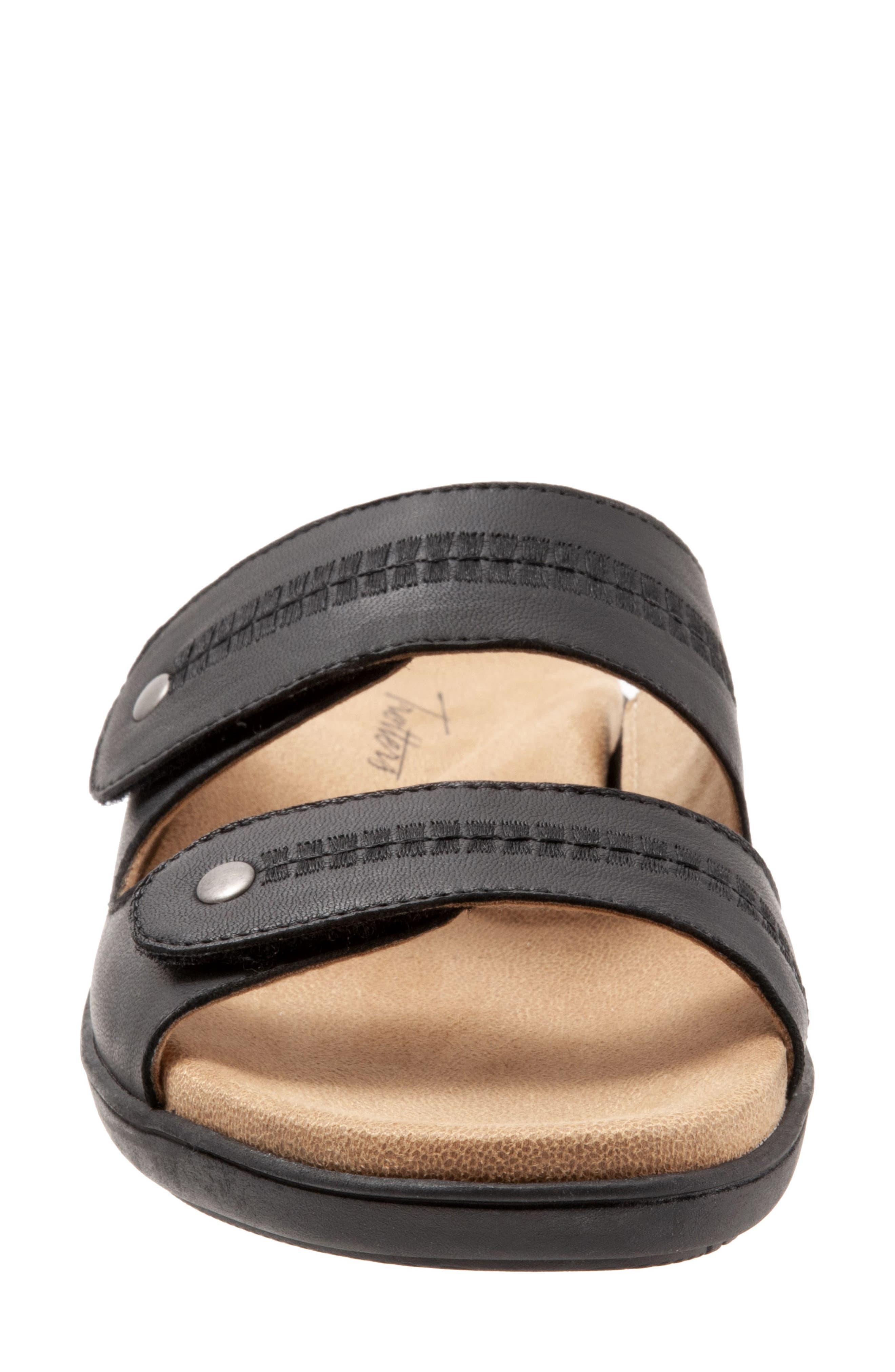 Vale Double Strap Slide Sandal,                             Alternate thumbnail 4, color,                             BLACK LEATHER