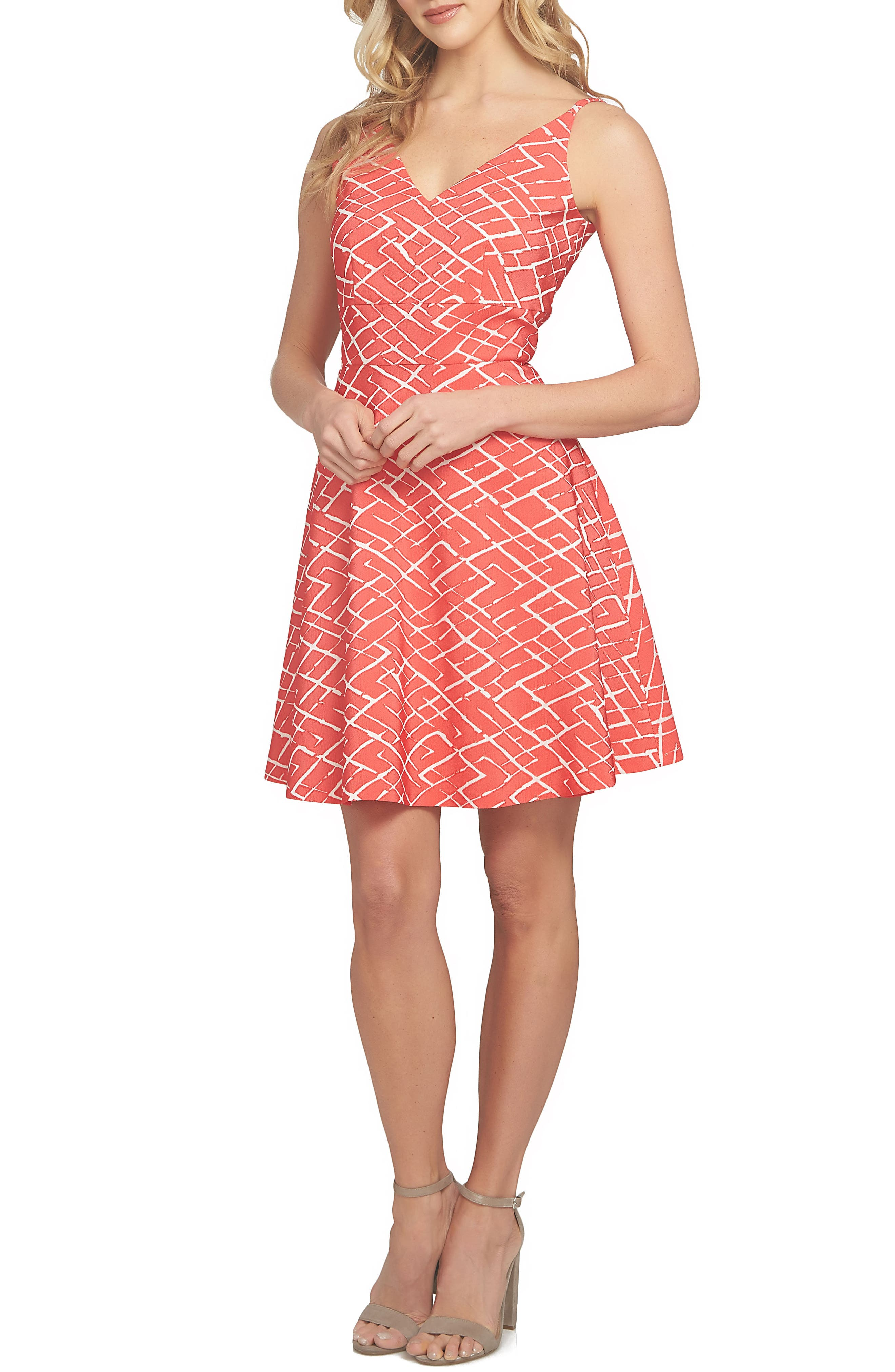 Miley Print Fit & Flare Dress,                         Main,                         color, 600