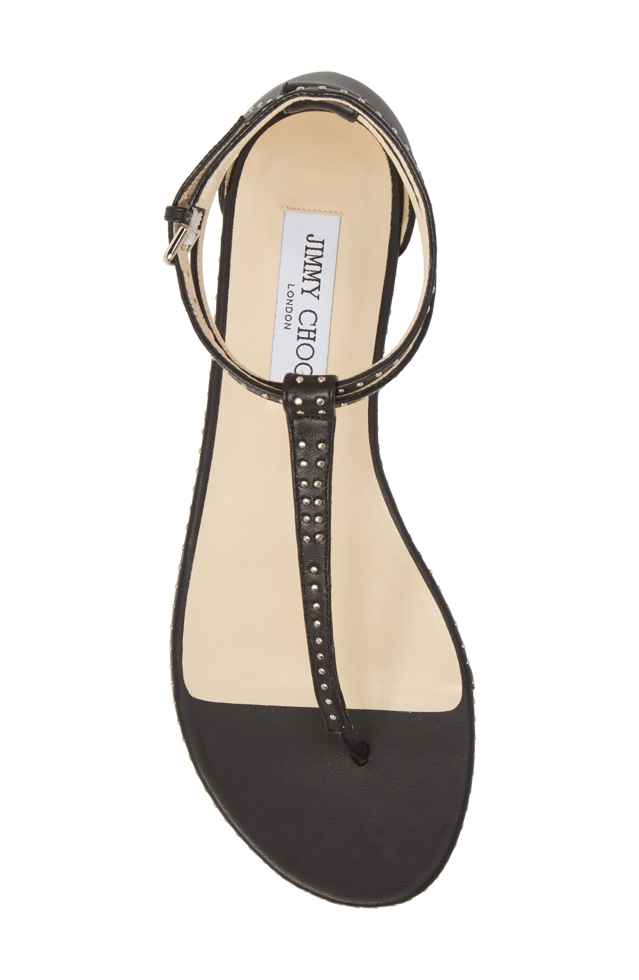 Afia Studded Flat Sandal,                             Alternate thumbnail 5, color,                             BLACK