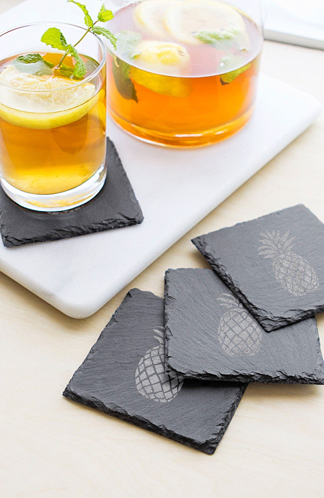 Set of 4 Pineapple Coasters,                             Alternate thumbnail 4, color,                             020