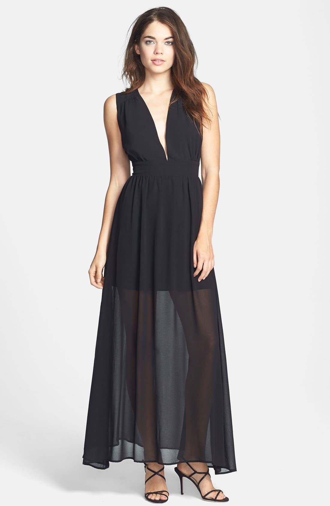 'Cold Desert' Embroidered Back Chiffon Maxi Dress, Main, color, 001