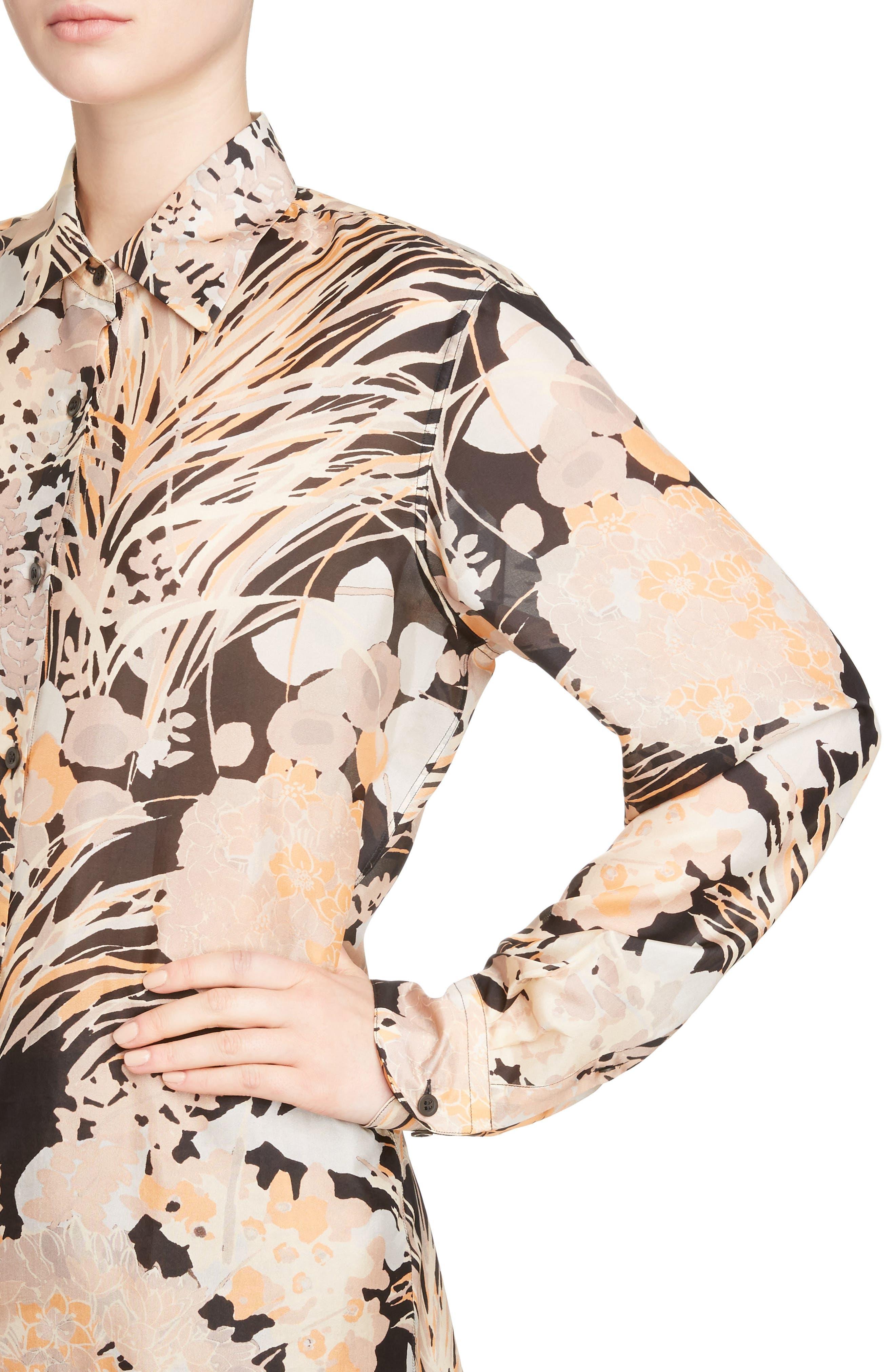 Floral Silk Blouse,                             Alternate thumbnail 4, color,                             001