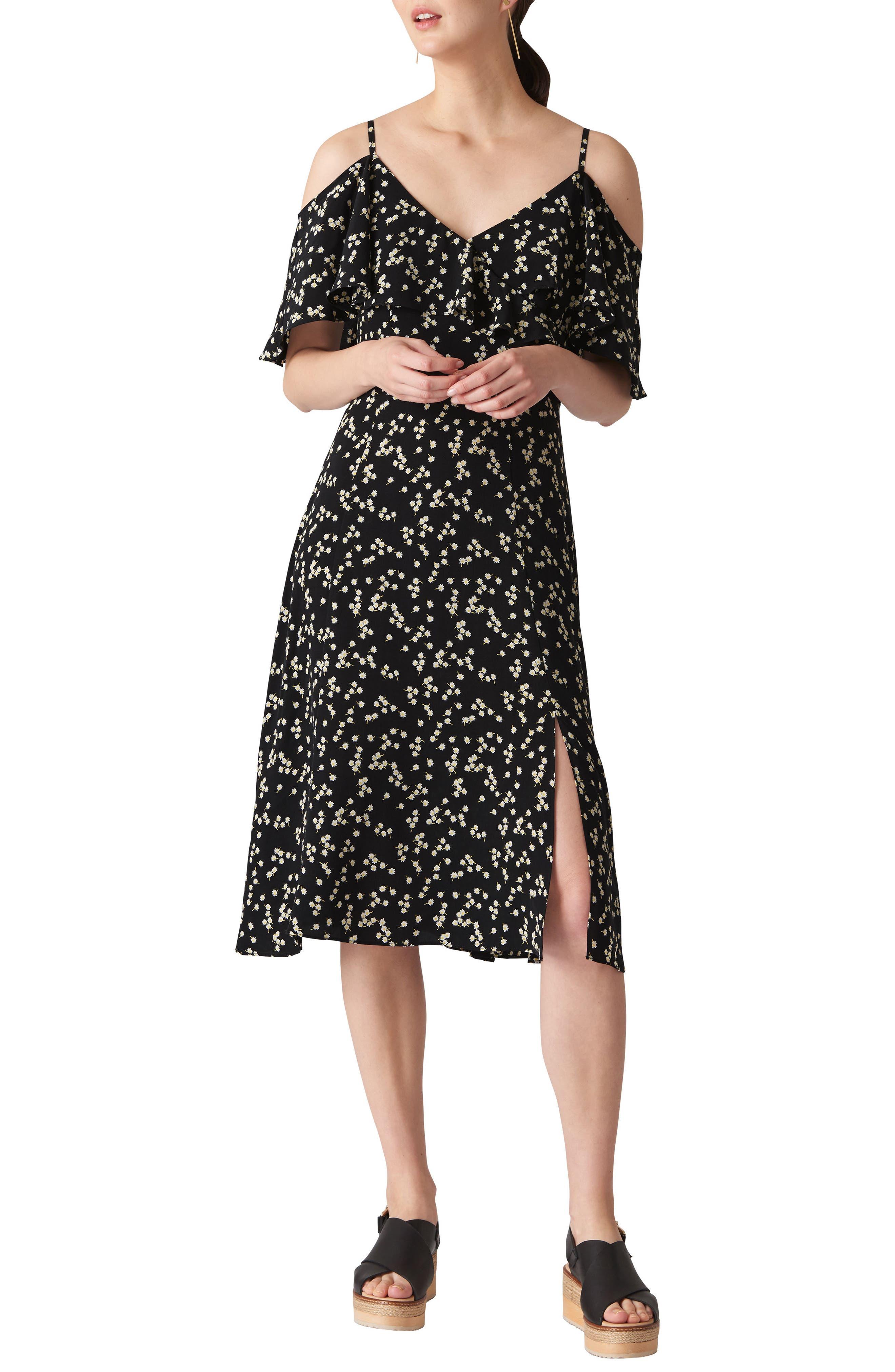 WHISTLES Frill Cold Shoulder Dress, Main, color, 001