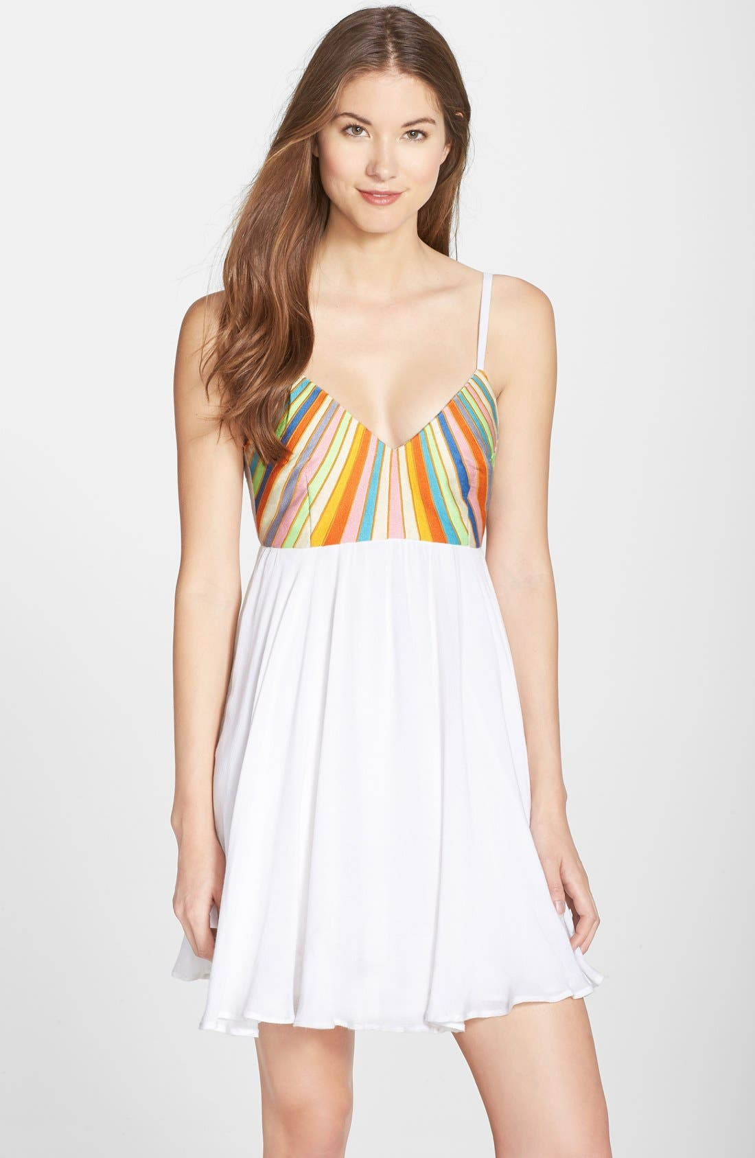 Embroidered Tie Back Dress,                             Main thumbnail 1, color,                             100