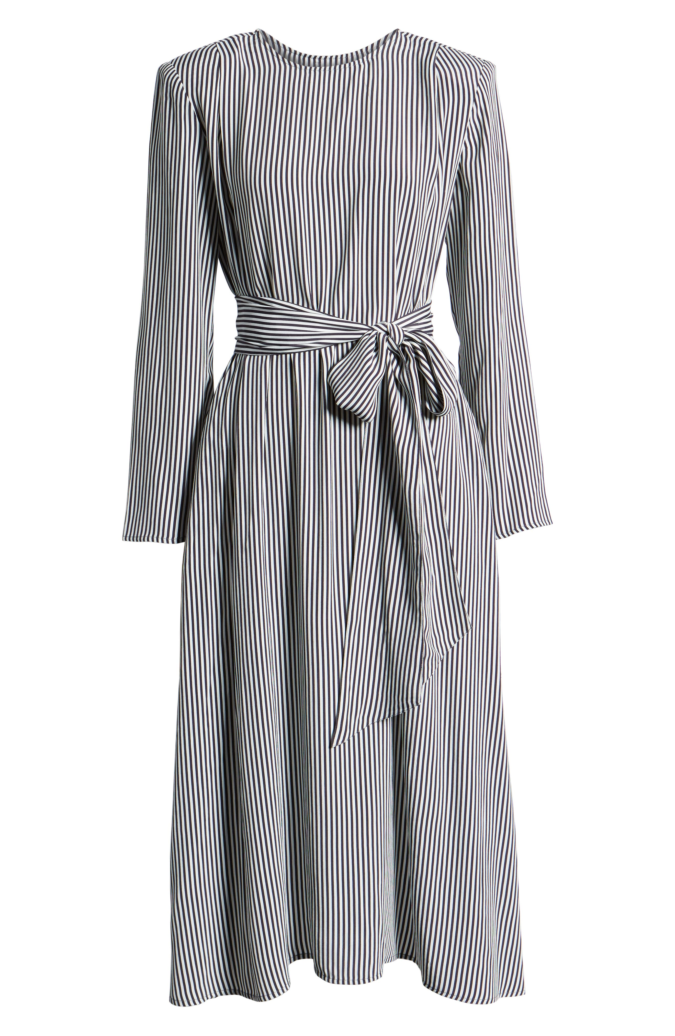 Belted Midi Dress,                             Alternate thumbnail 7, color,                             NAVY NIGHT TWO STRIPE
