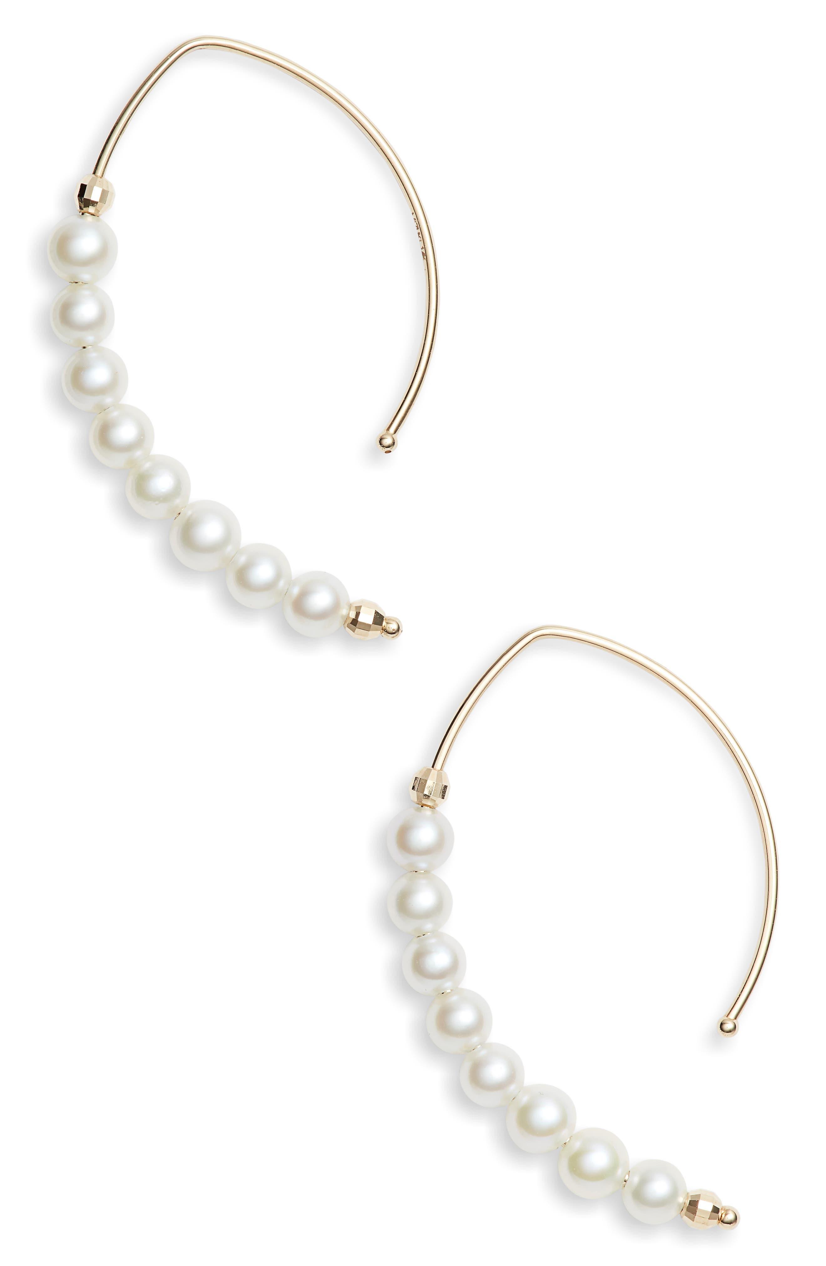 MIZUKI,                             Pearl Marquis Hoop Earrings,                             Main thumbnail 1, color,                             GOLD/ PEARL