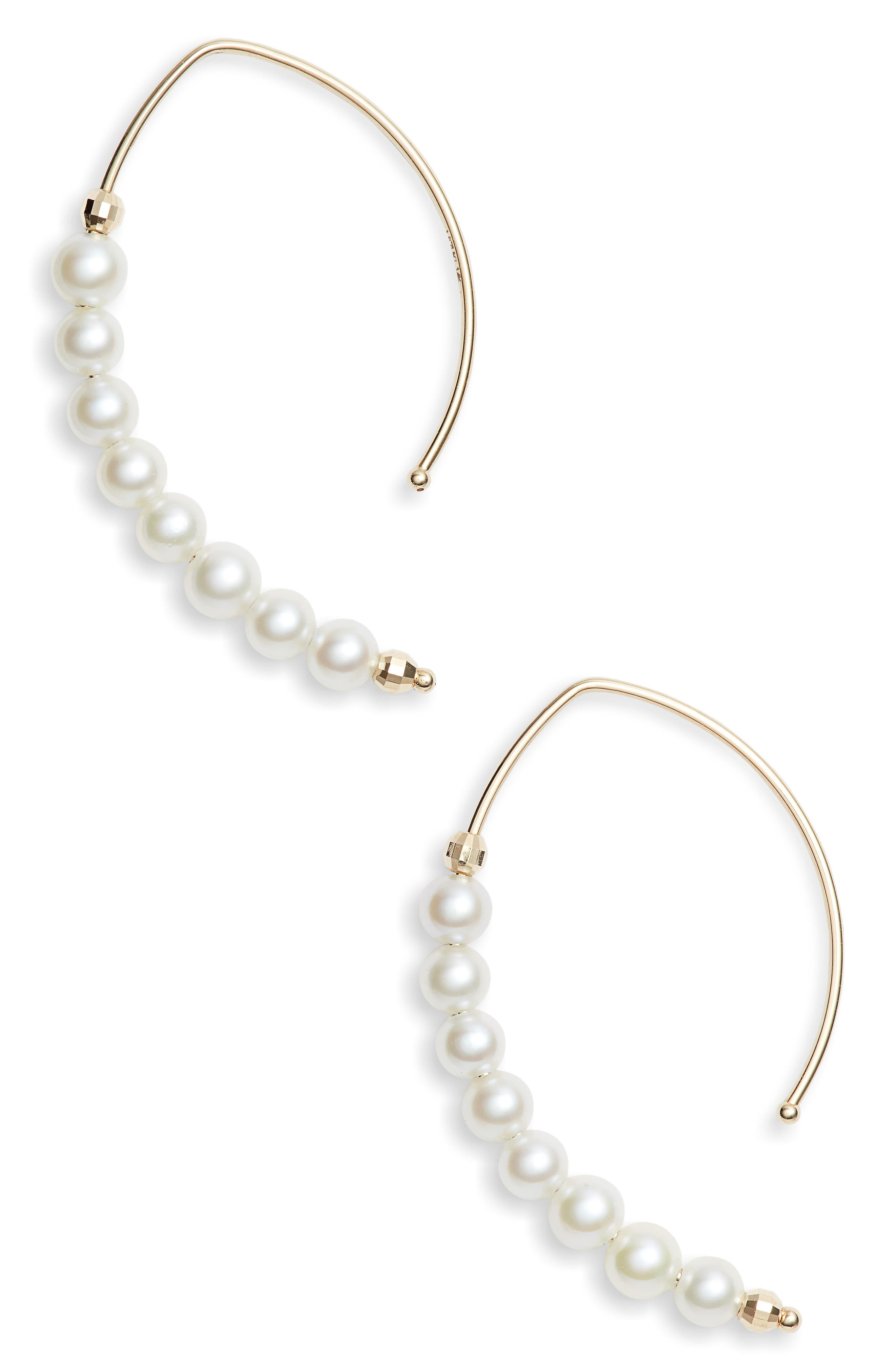 MIZUKI Pearl Marquis Hoop Earrings, Main, color, GOLD/ PEARL