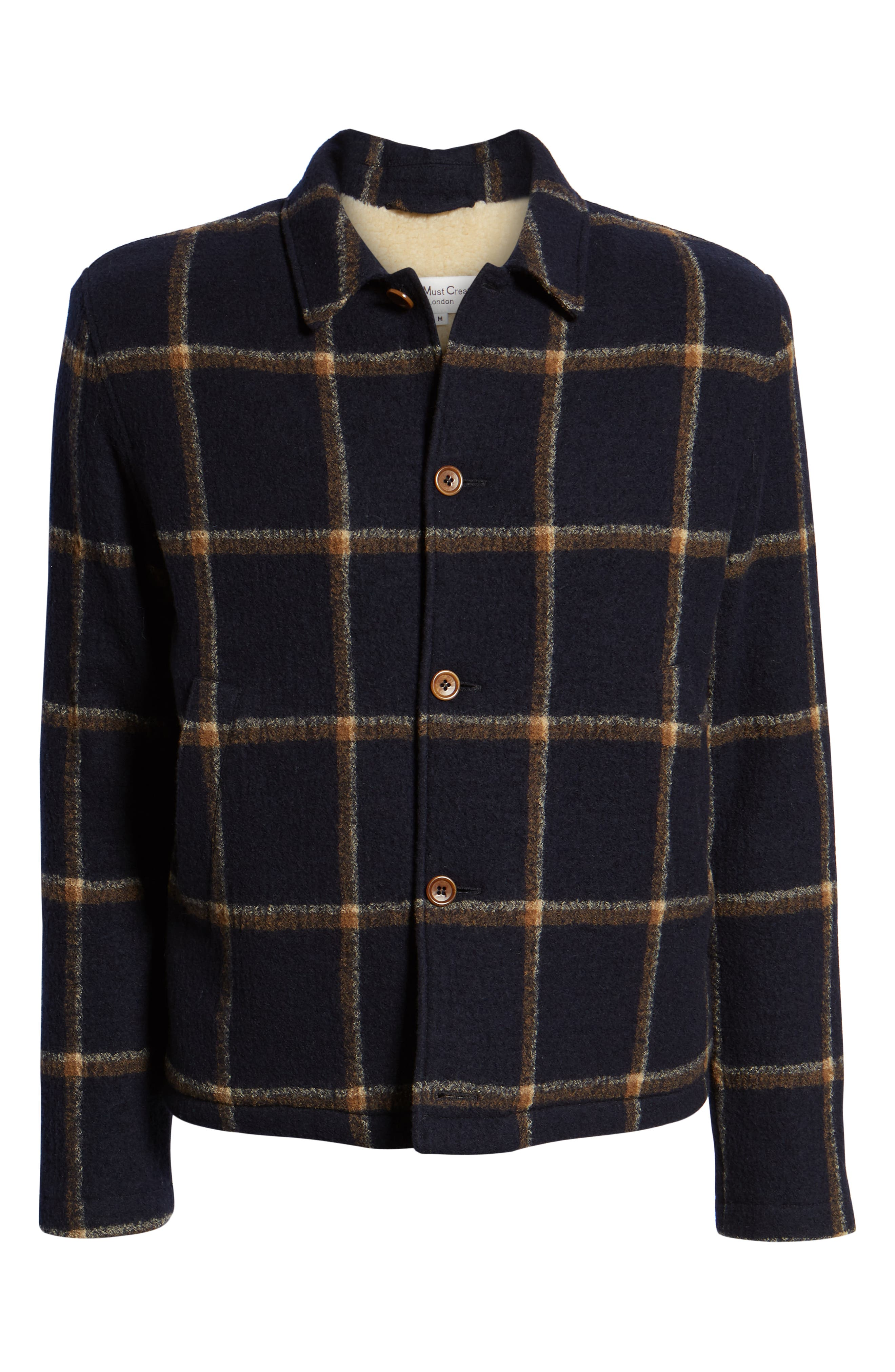 Regular Fit Faux Shearling Lined Check Wool Groundhog Jacket,                             Alternate thumbnail 6, color,                             NAVY