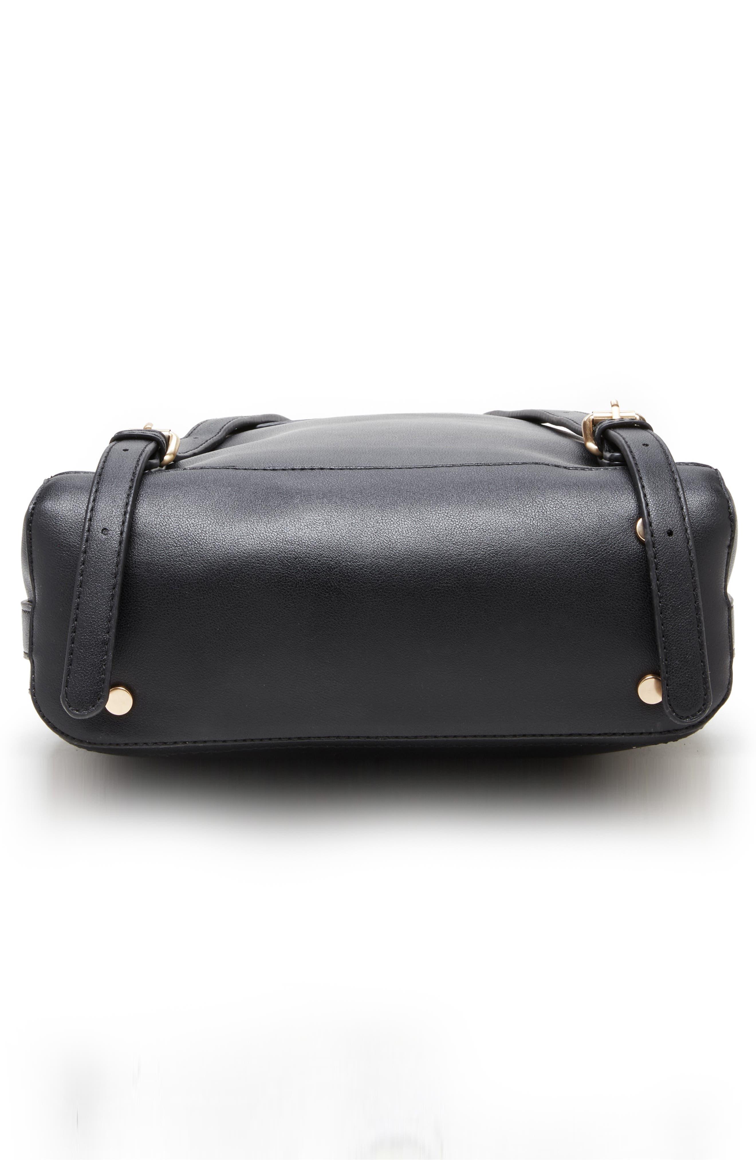 Hingi Faux Leather Backpack,                             Alternate thumbnail 4, color,                             BLACK
