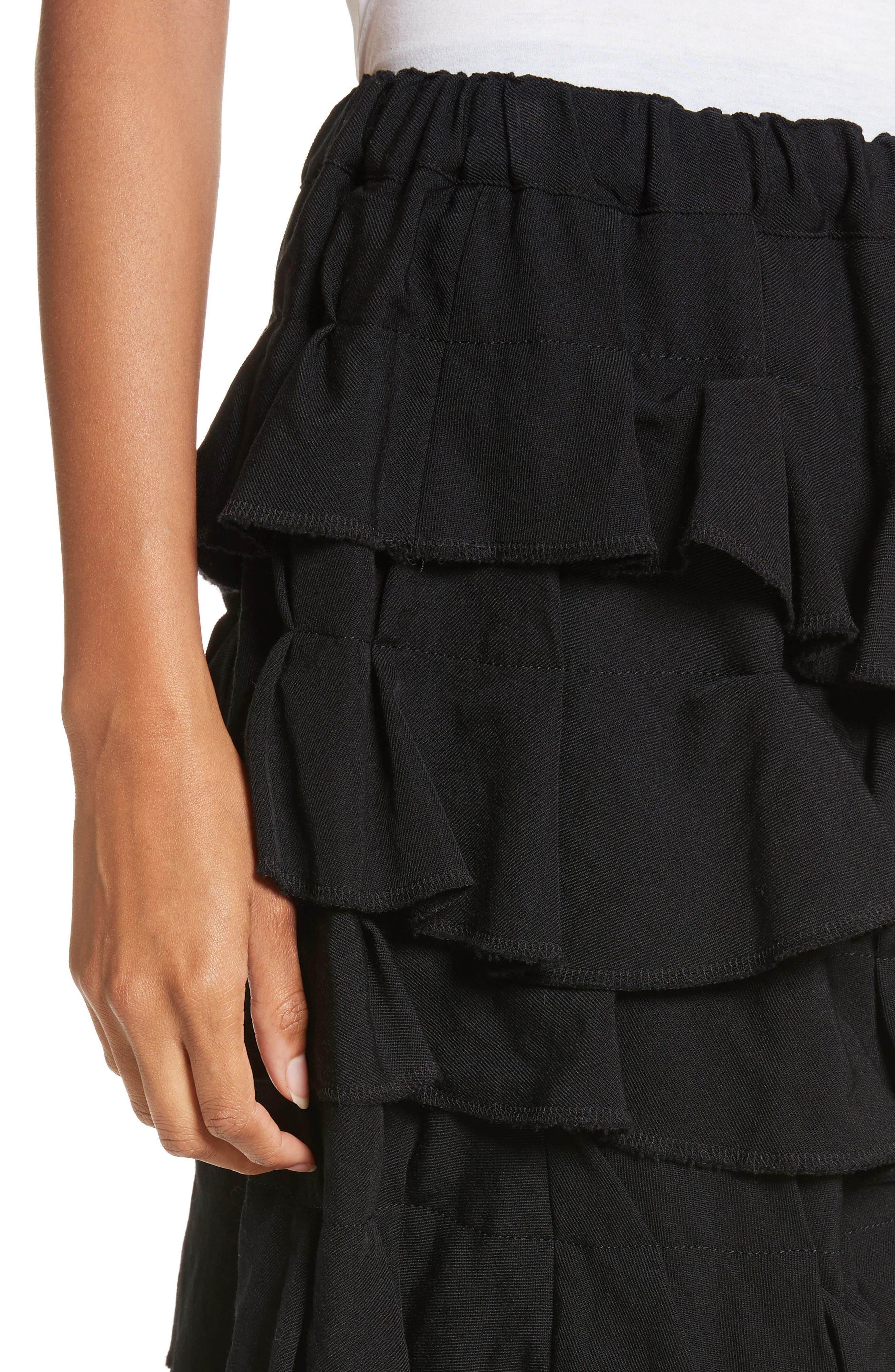 Ruffle Gabardine Skirt,                             Alternate thumbnail 4, color,                             001