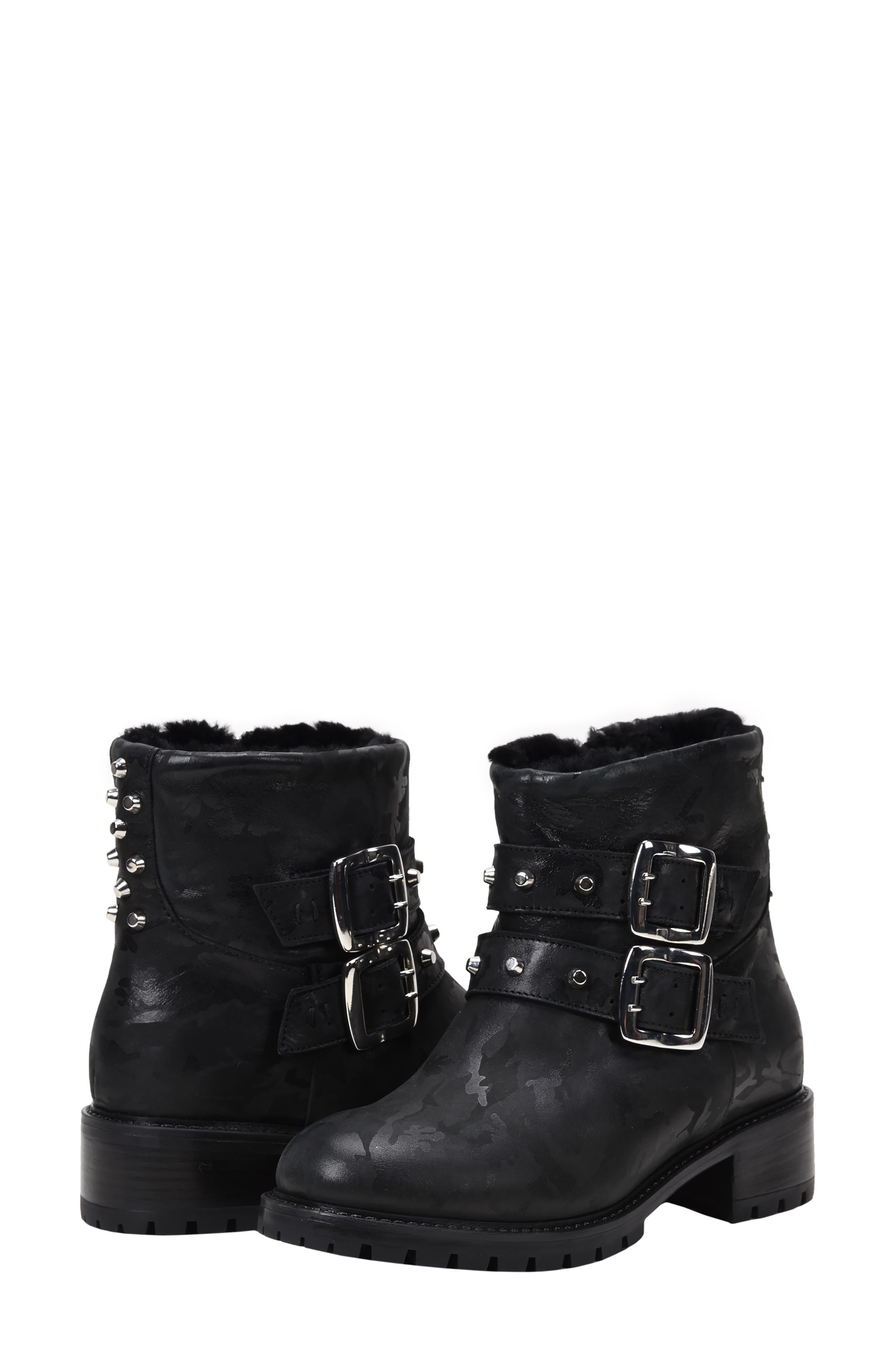 Stefana SP Genuine Shearling Lined Waterproof Bootie,                             Alternate thumbnail 8, color,                             BLACK CAMO LEATHER