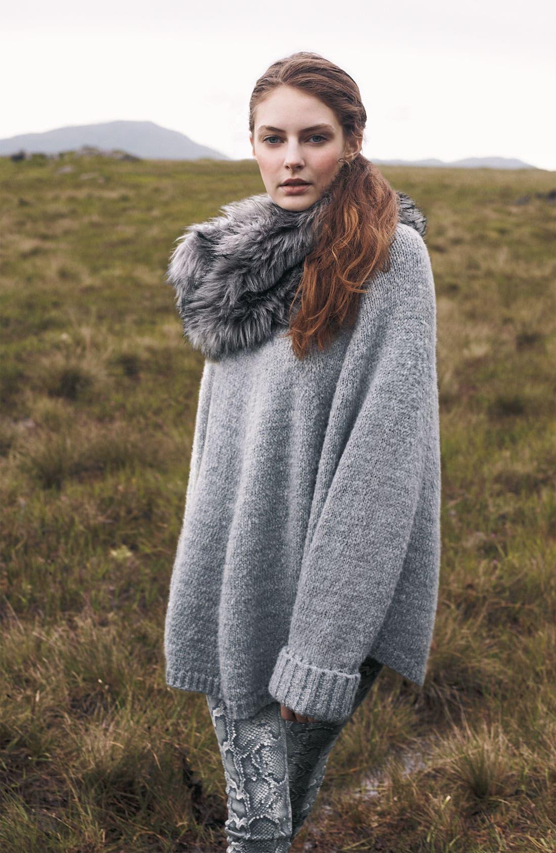 Faux Fur Trim Poncho Sweater,                             Alternate thumbnail 5, color,                             035