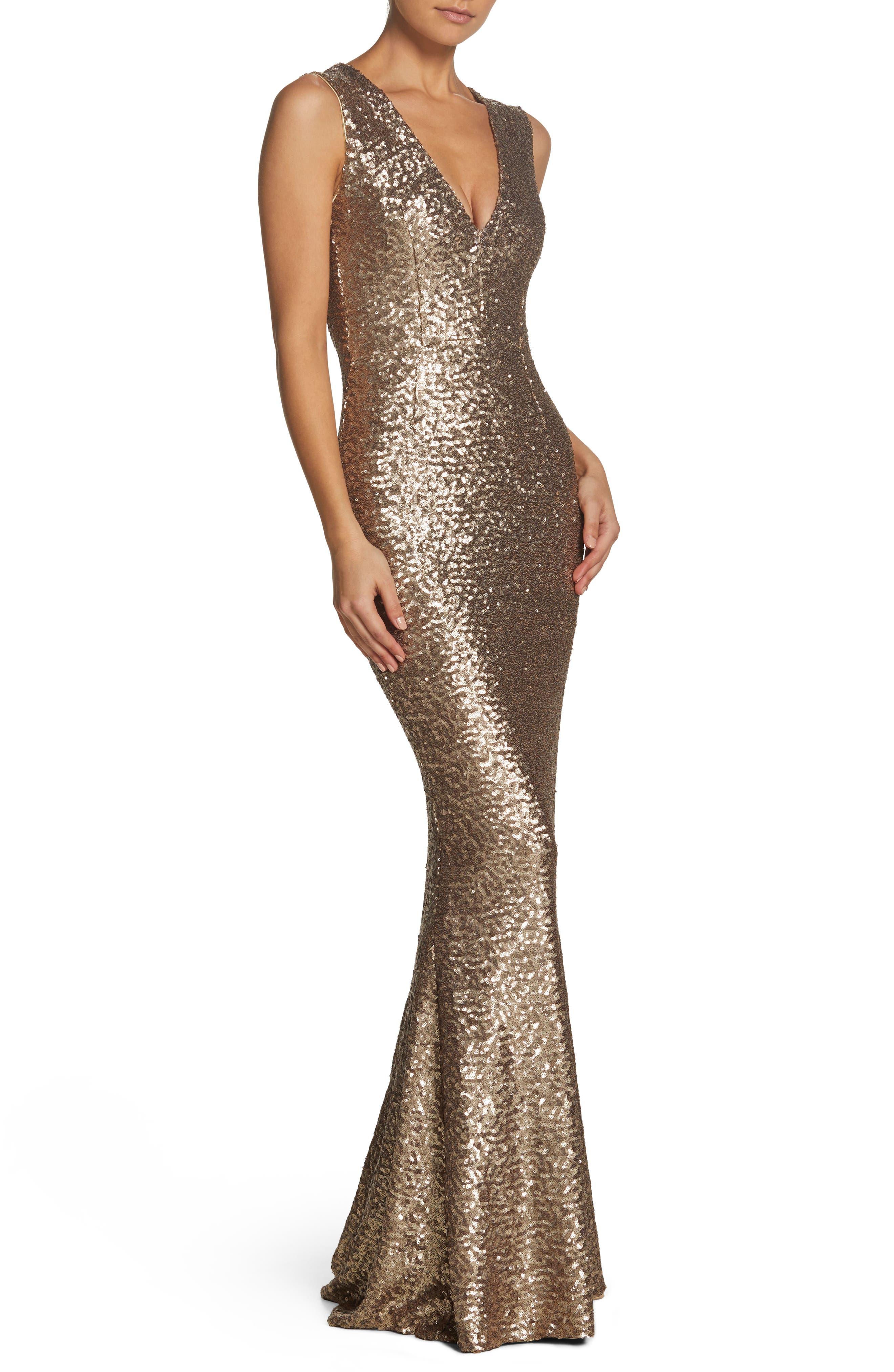 Dress The Population Karina Plunge Mermaid Gown, Metallic