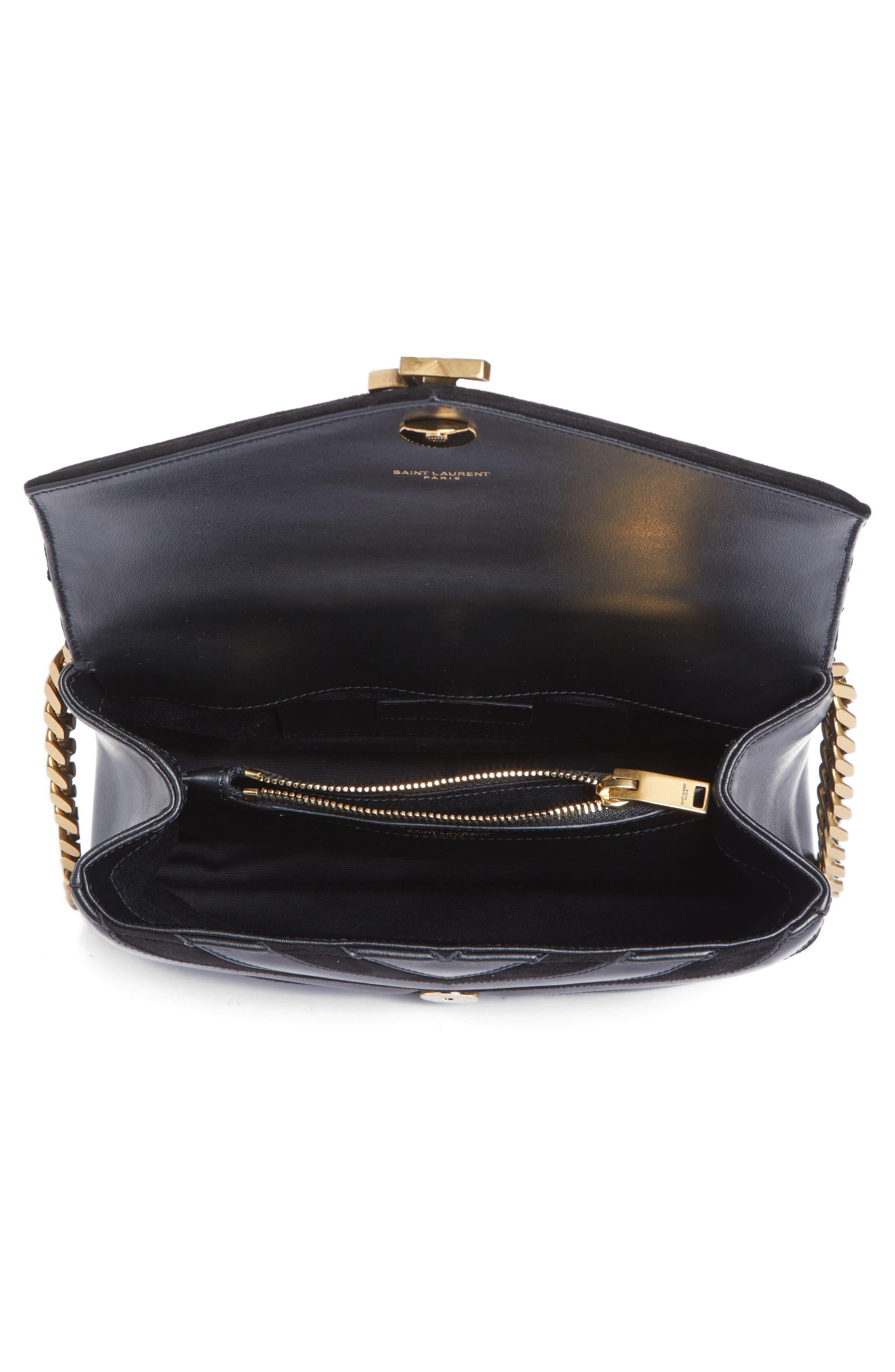 Medium College Patchwork Suede & Leather Shoulder Bag,                             Alternate thumbnail 4, color,                             001