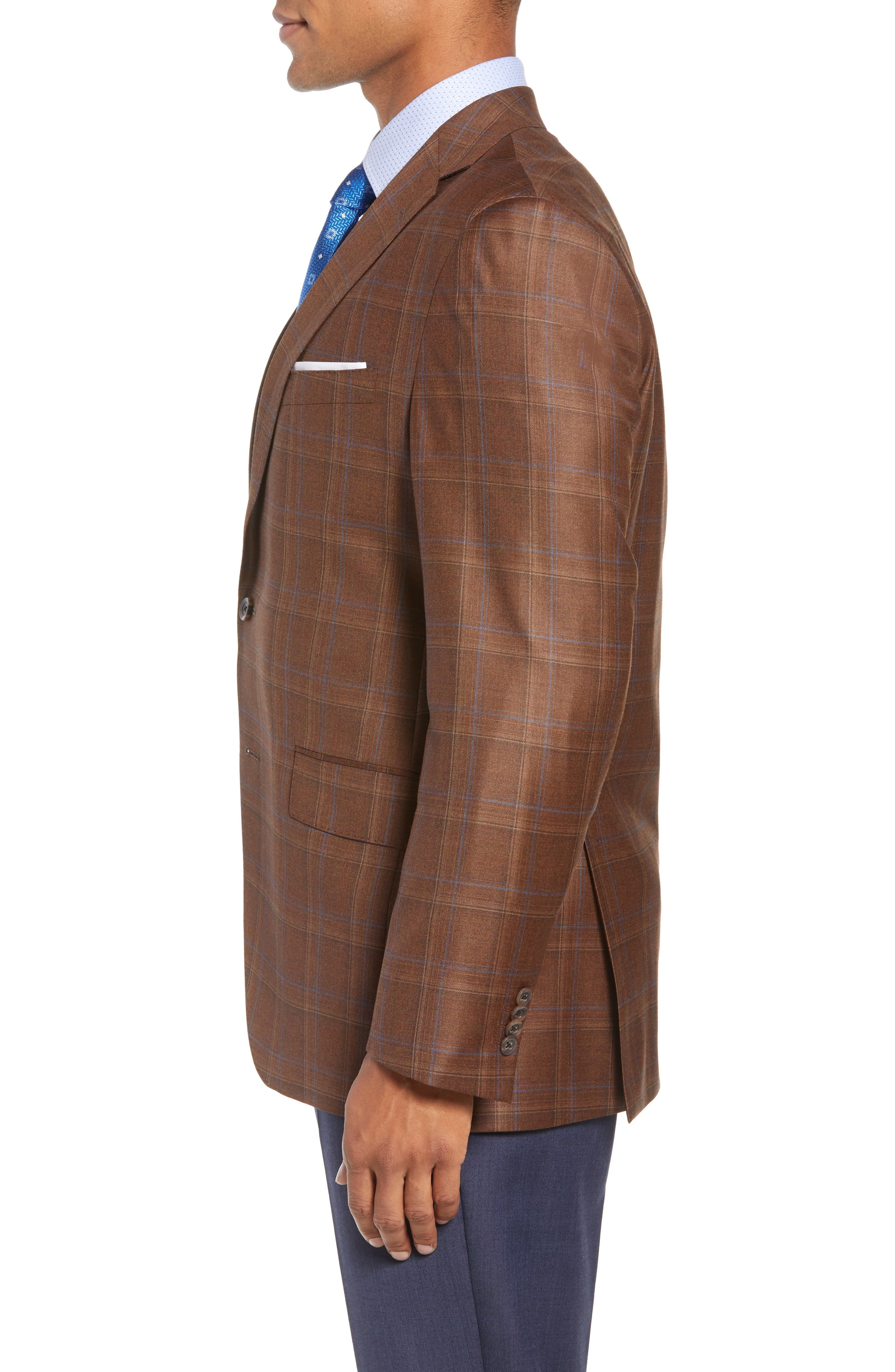 Arnold Classic Fit Plaid Wool Sport Coat,                             Alternate thumbnail 3, color,                             200