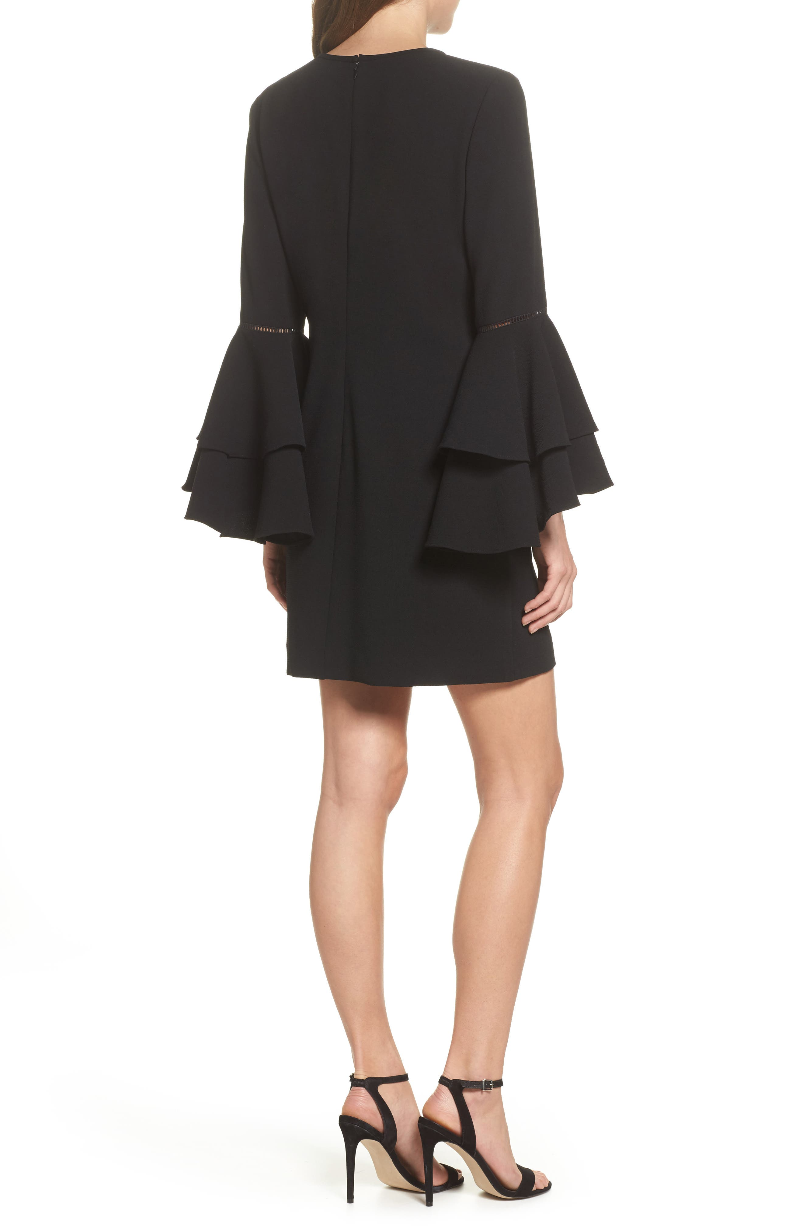 Tiered Bell Sleeve Shift Dress,                             Alternate thumbnail 2, color,                             001