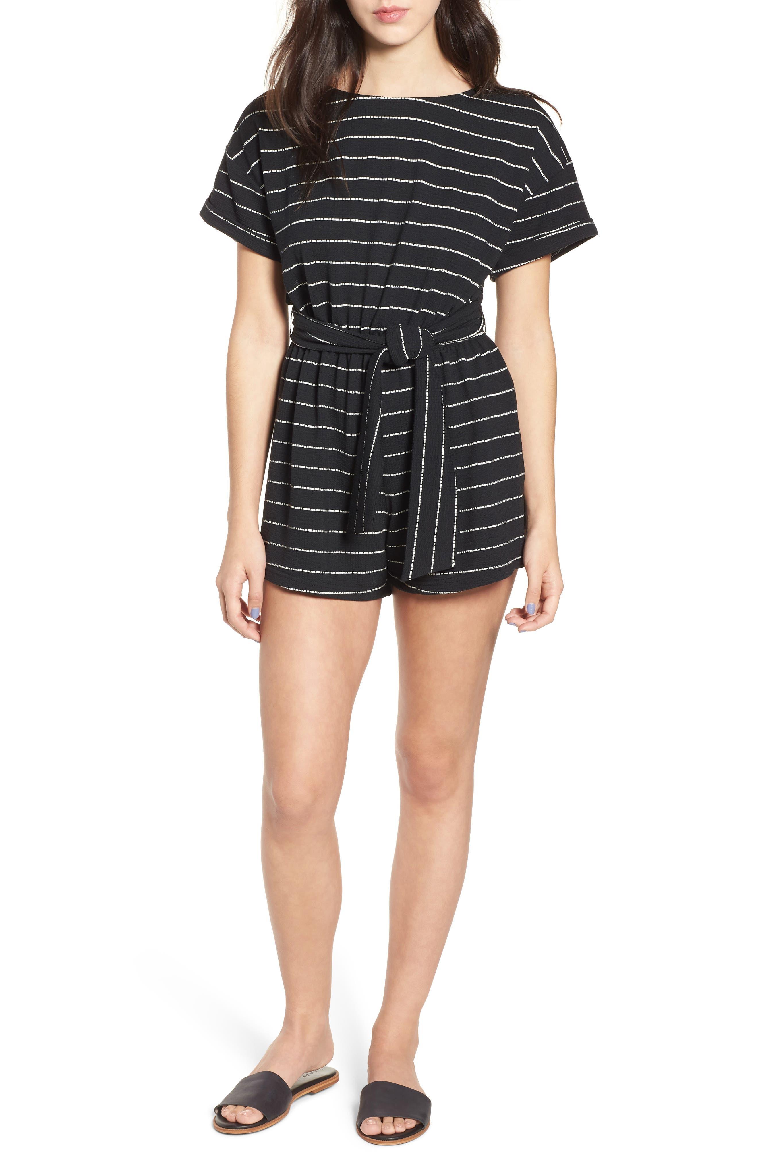 Stripe Knit Romper,                         Main,                         color, 004