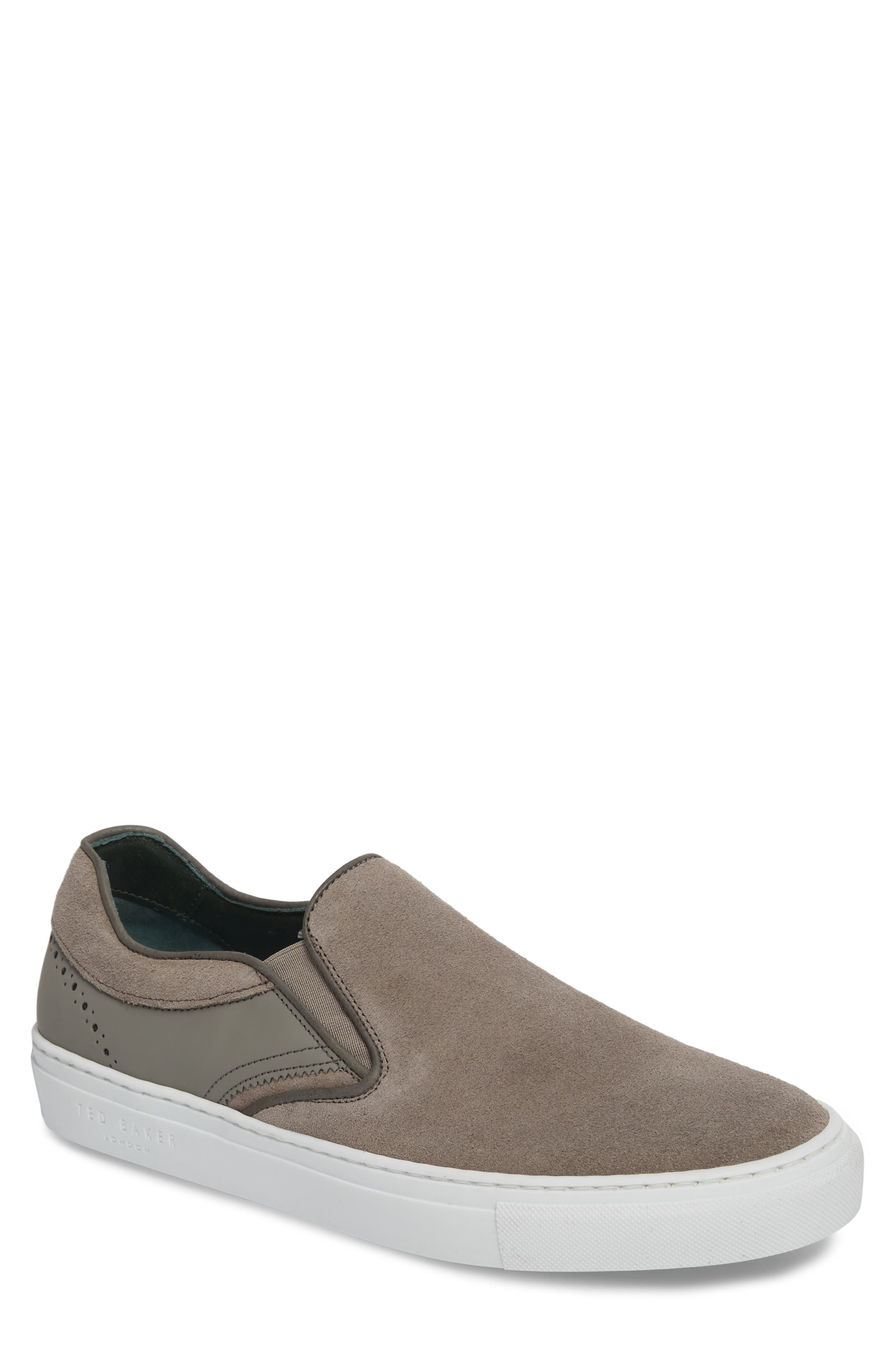 Reaine Brogued Slip-On Sneaker,                             Main thumbnail 1, color,                             LIGHT GREY LEATHER