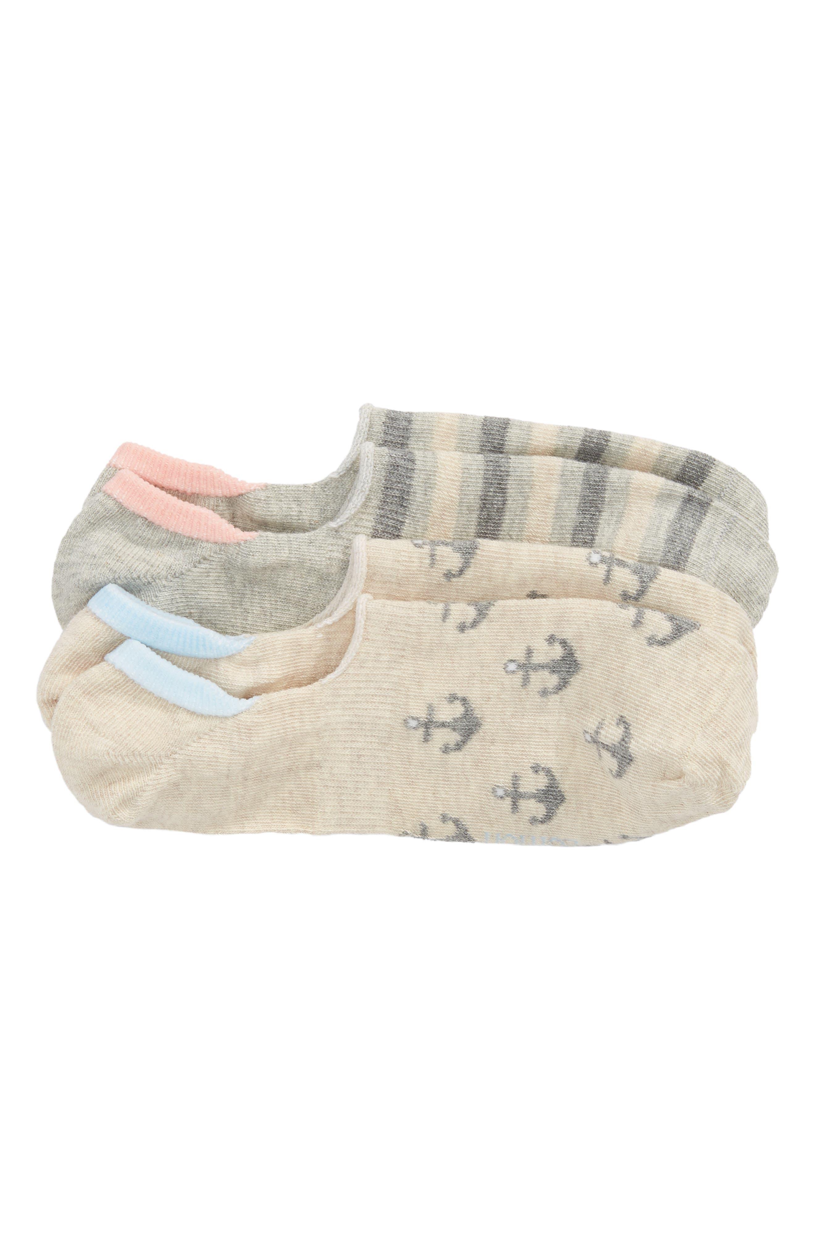 2-Pack Anchors Away No-Show Socks,                             Main thumbnail 1, color,
