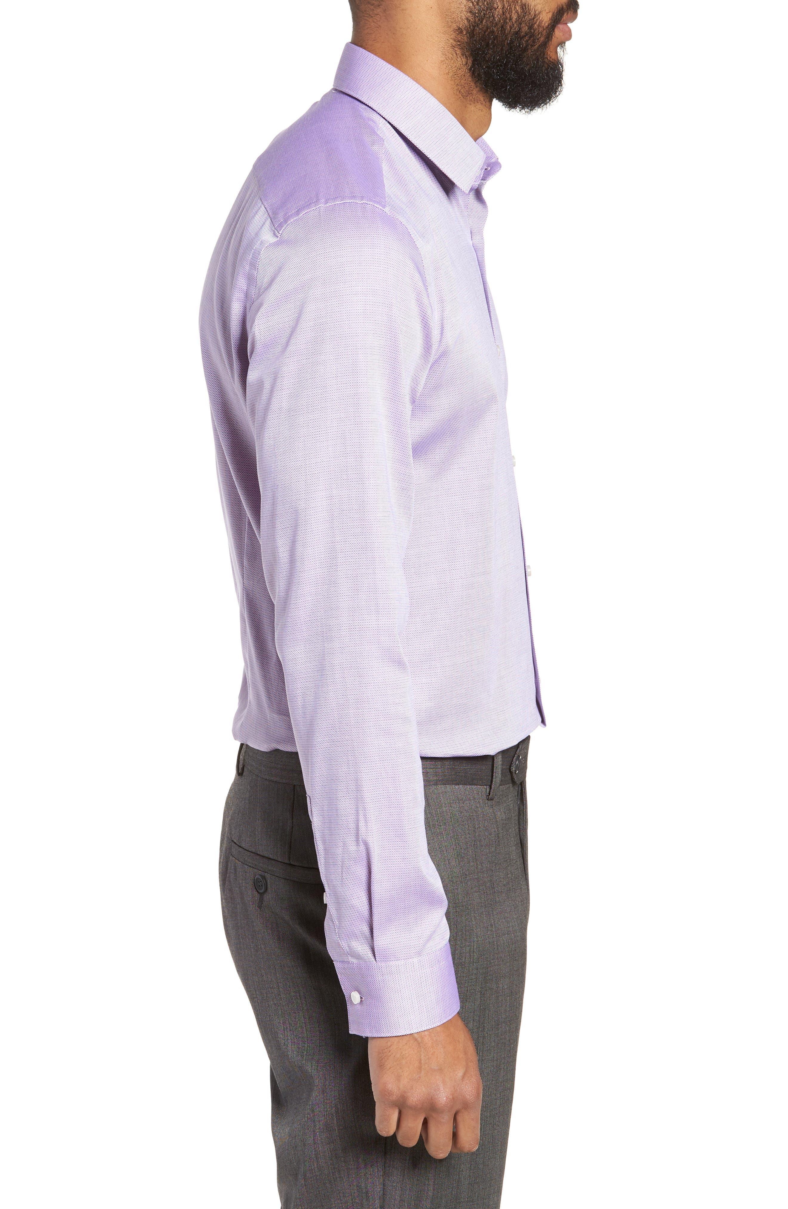 Slim Fit Isko Micro Pattern Dress Shirt,                             Alternate thumbnail 4, color,                             RED