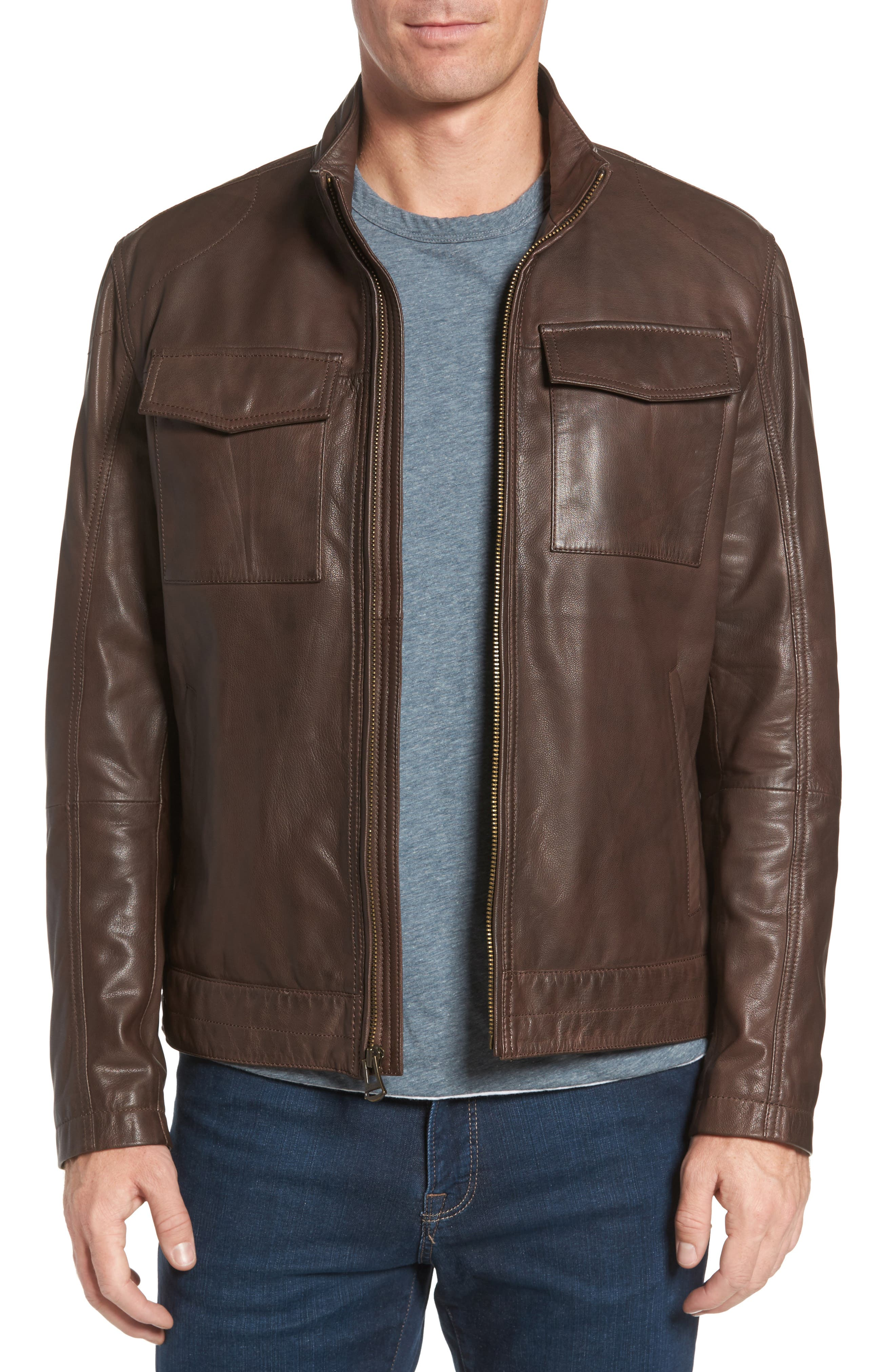 Washed Leather Trucker Jacket,                         Main,                         color, BROWN
