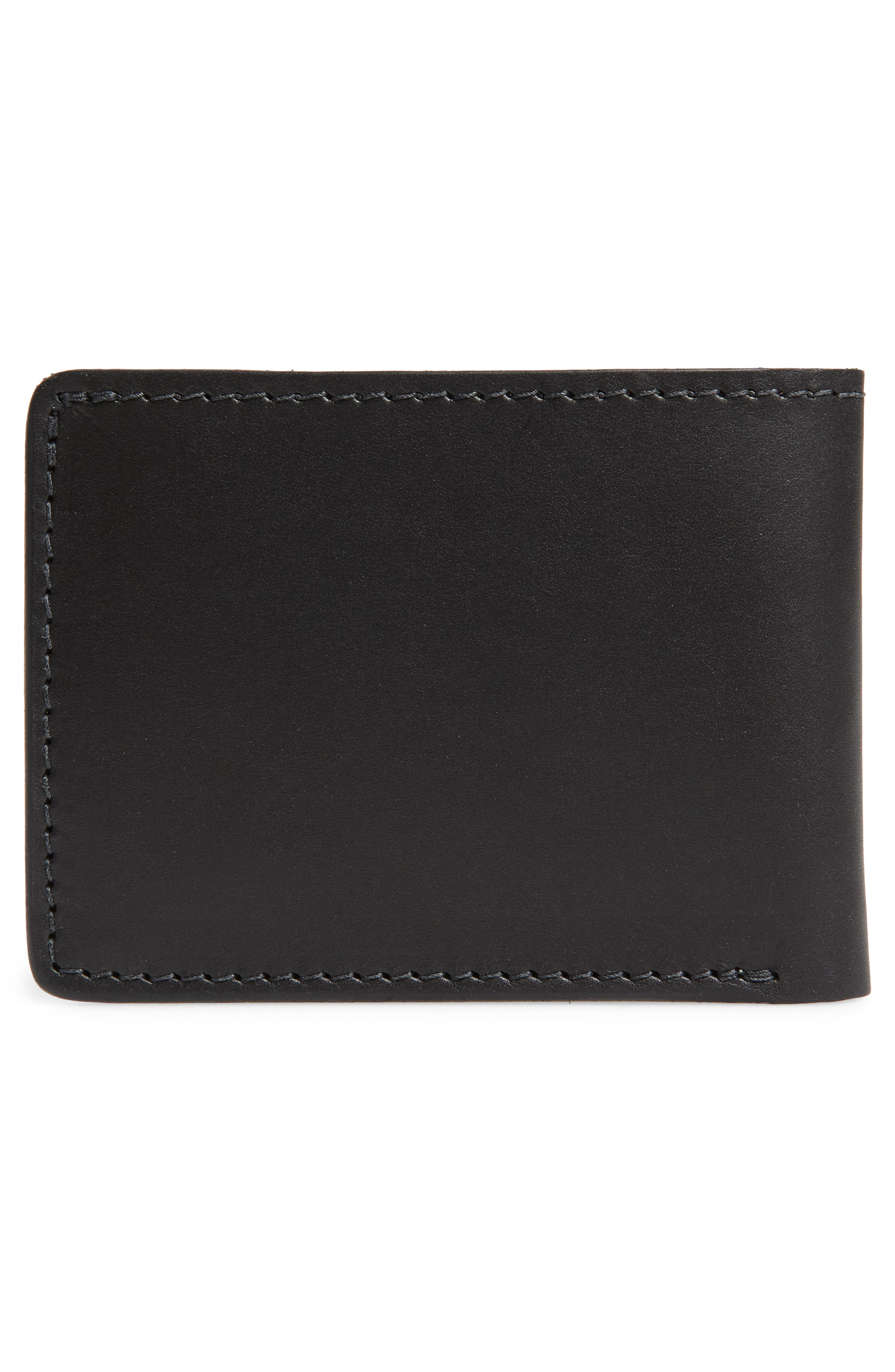 Utility Leather Bifold Wallet,                             Alternate thumbnail 3, color,                             BLACK