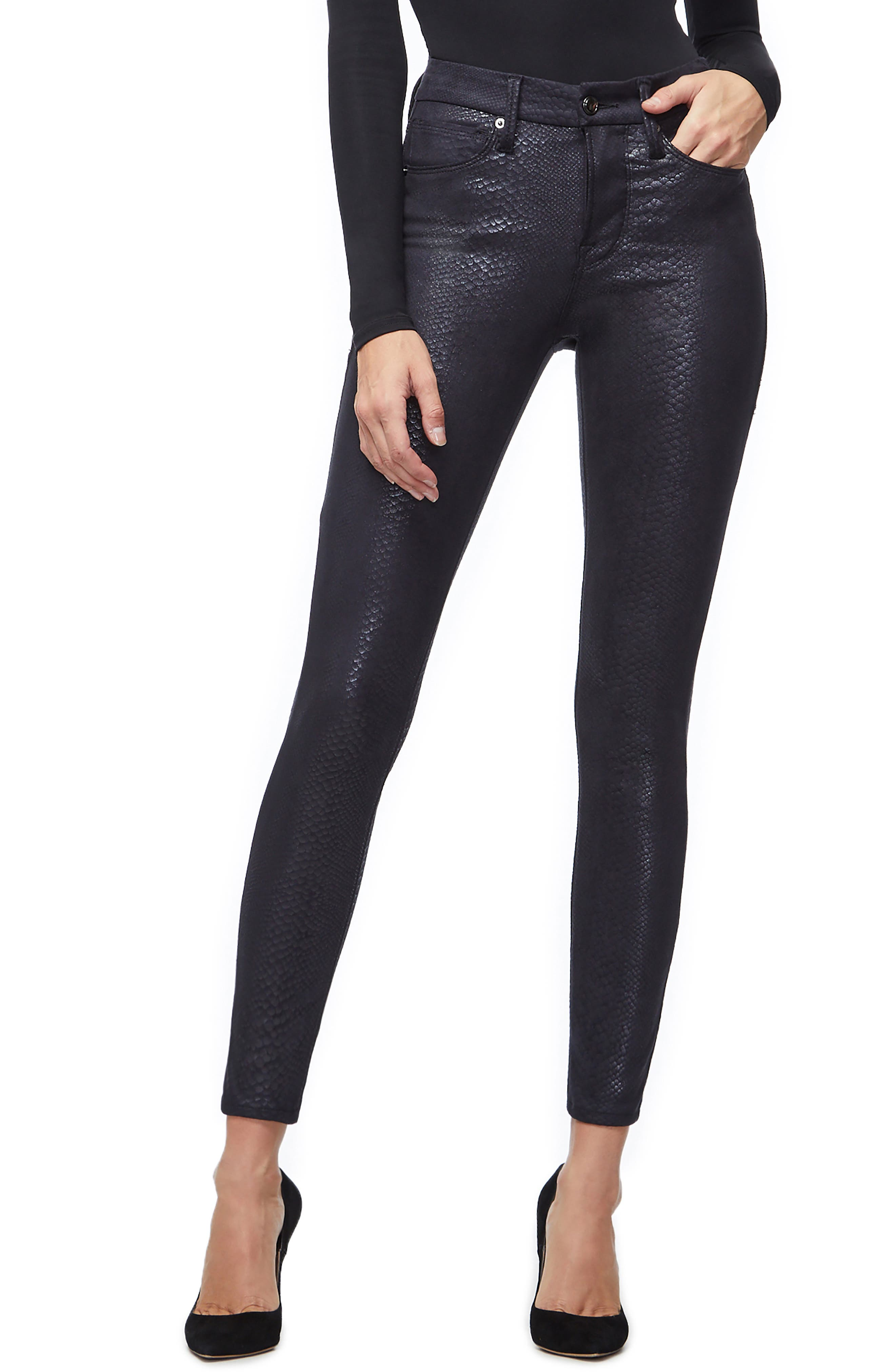 GOOD AMERICAN,                             Good Legs Metallic Snake Print Skinny Jeans,                             Main thumbnail 1, color,                             BLACK041