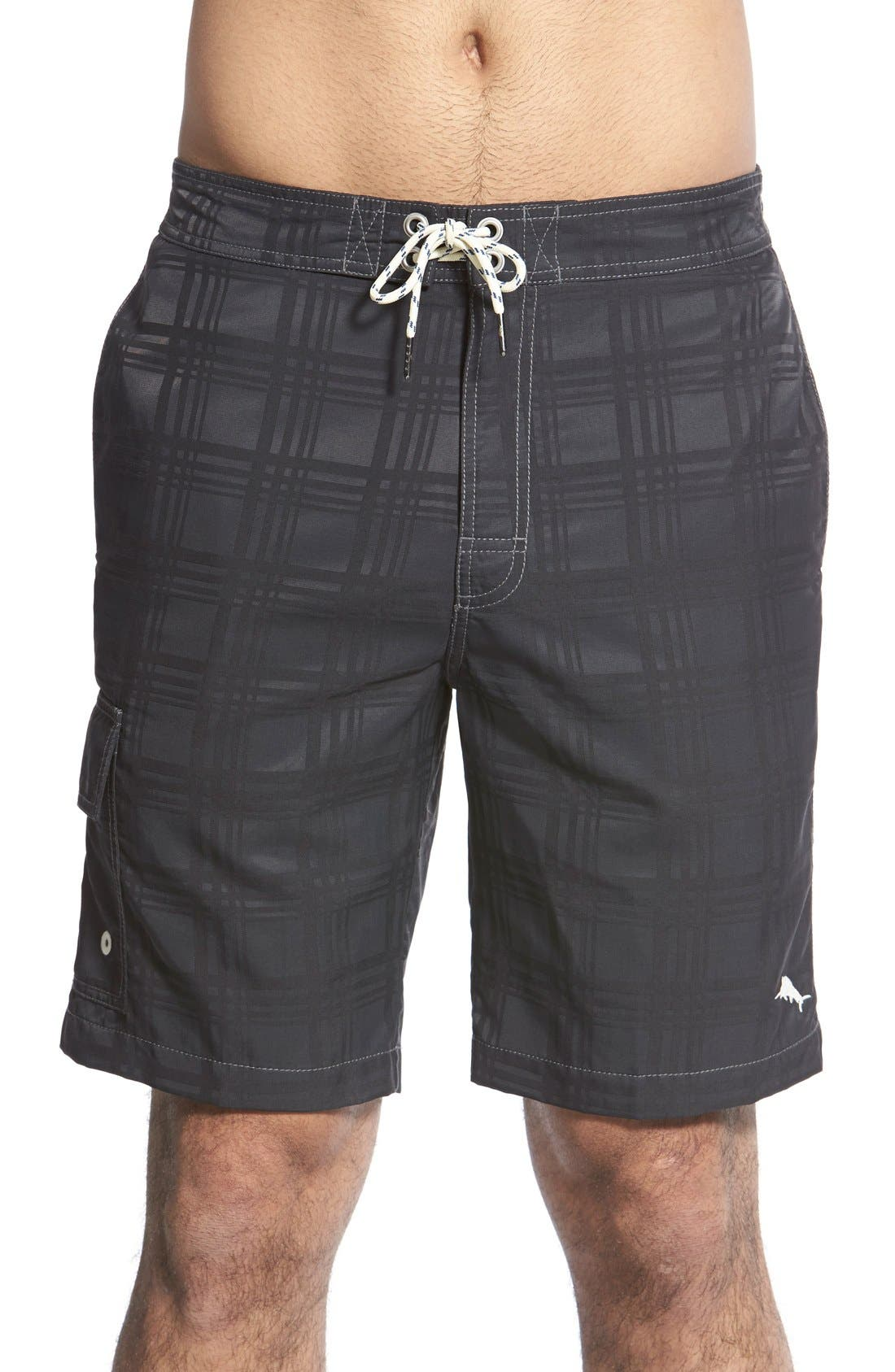 Baja Plaid Swim Trunks,                             Main thumbnail 1, color,                             001