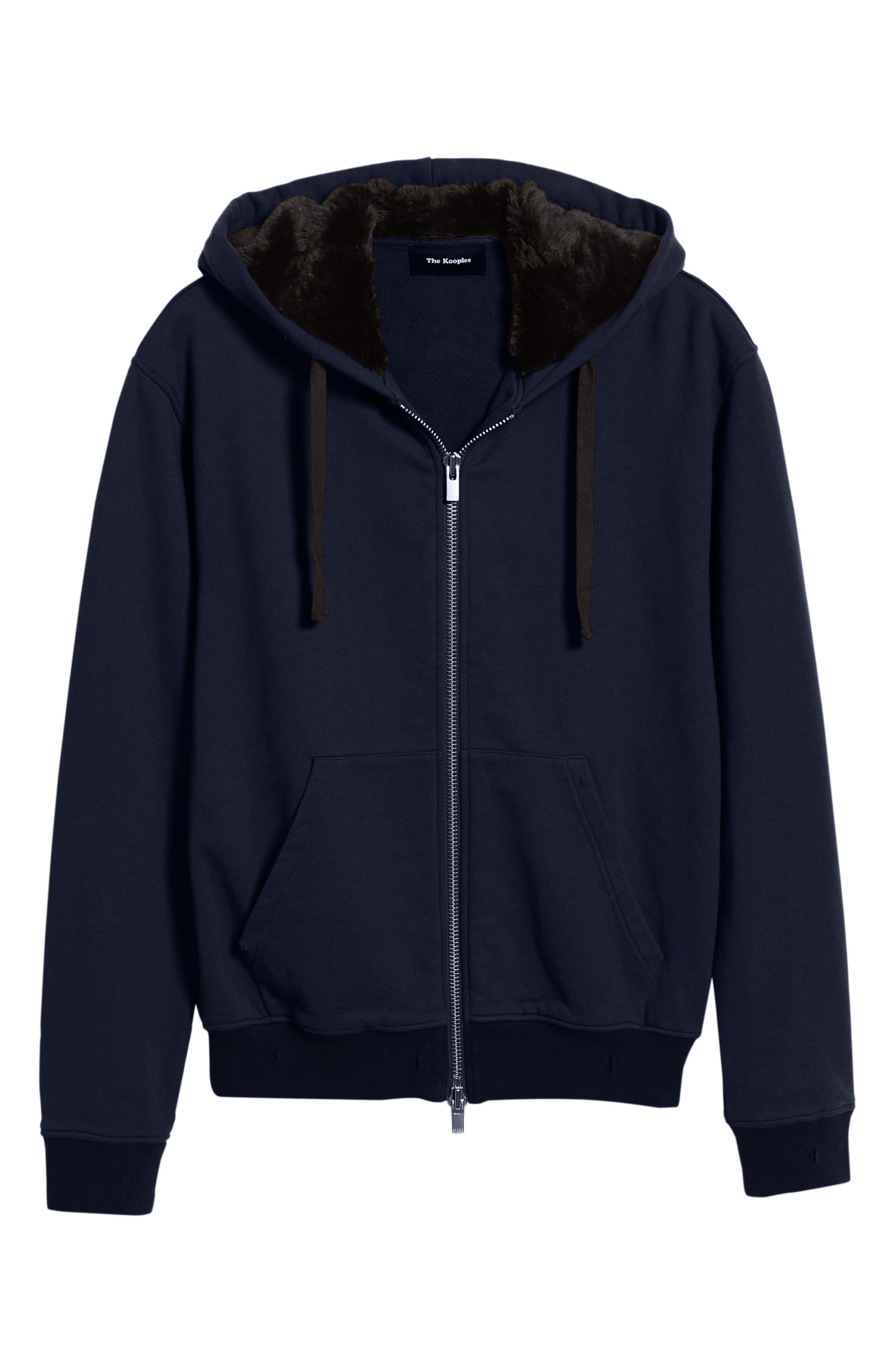 Destroyed Regular Fit Zip Hoodie with Faux Fur Trim,                             Alternate thumbnail 6, color,                             NAVY
