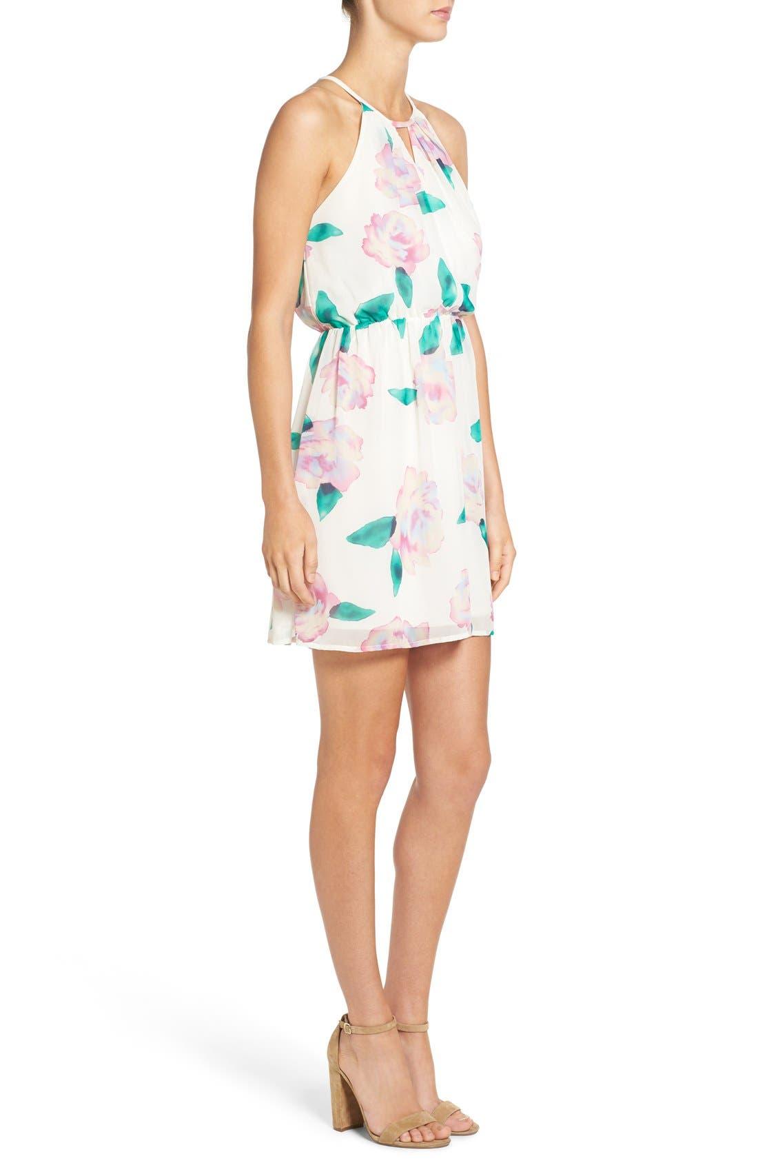 Floral Print A-Line Dress,                             Alternate thumbnail 5, color,                             110