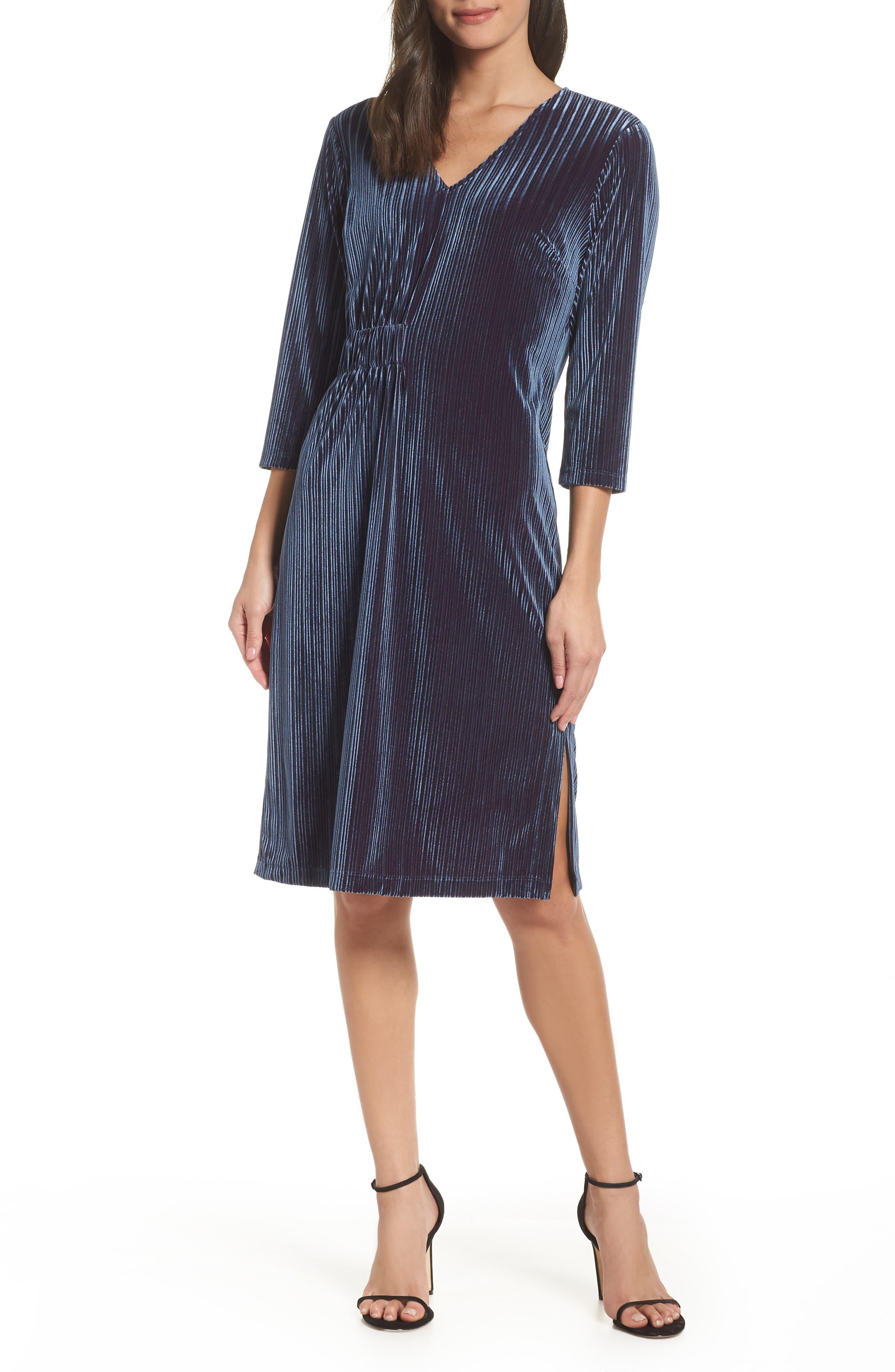 Chelsea28 Stripe Velvet Burnout Dress, Blue