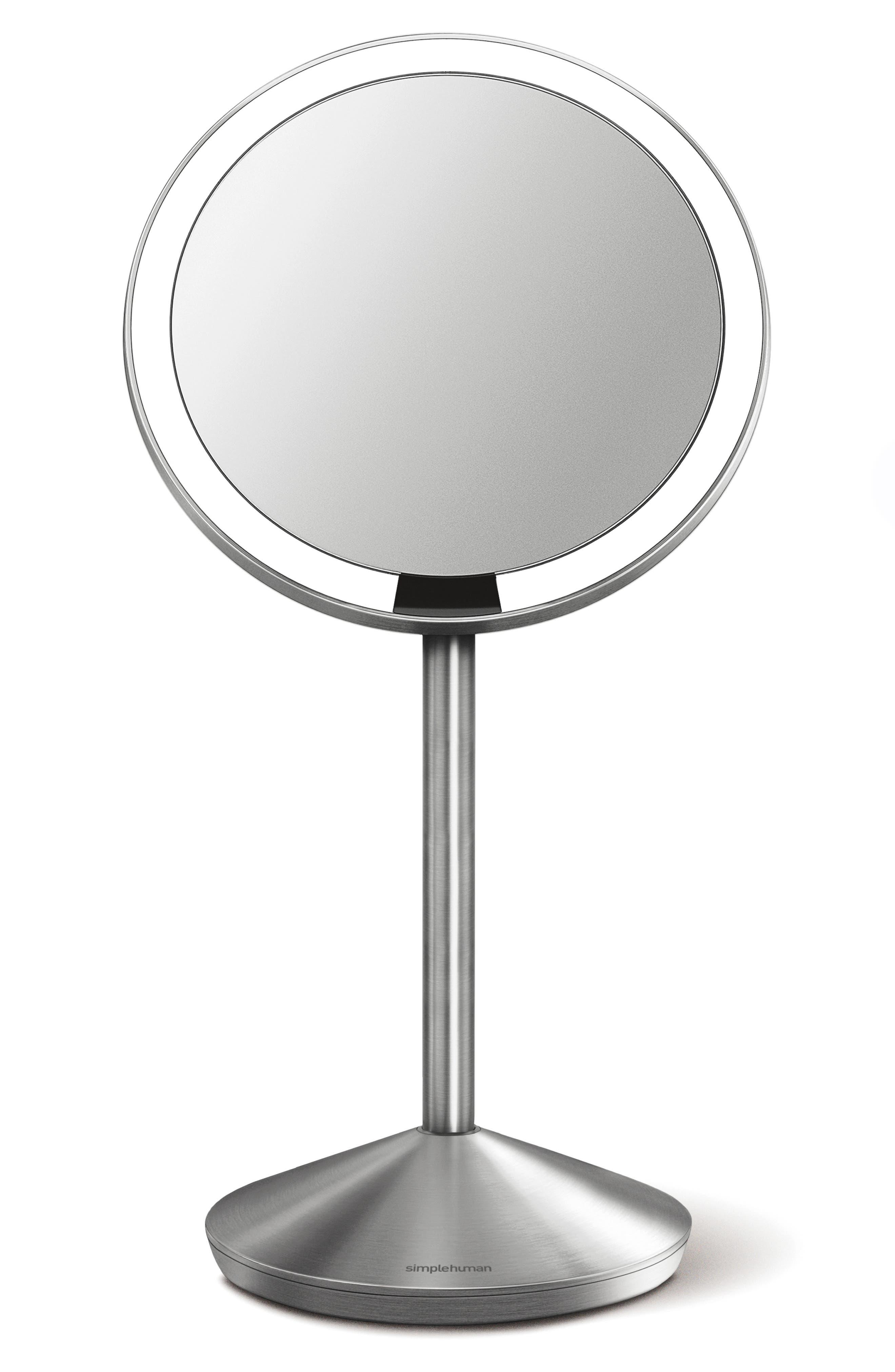 Mini Countertop Sensor Makeup Mirror,                             Main thumbnail 1, color,                             SILVER