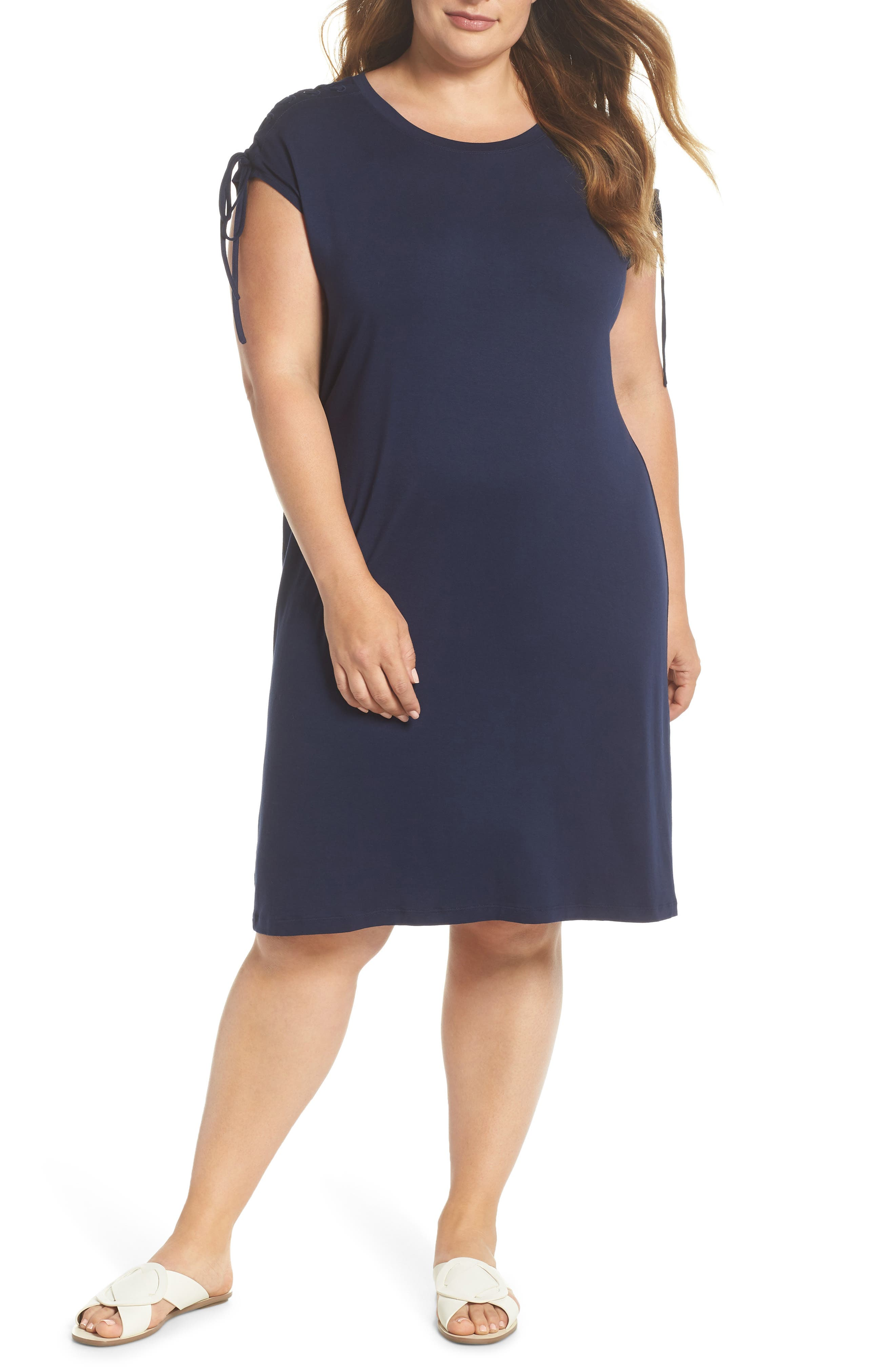 VINCE CAMUTO Lace-Up Shoulder T-Shirt Dress, Main, color, 461
