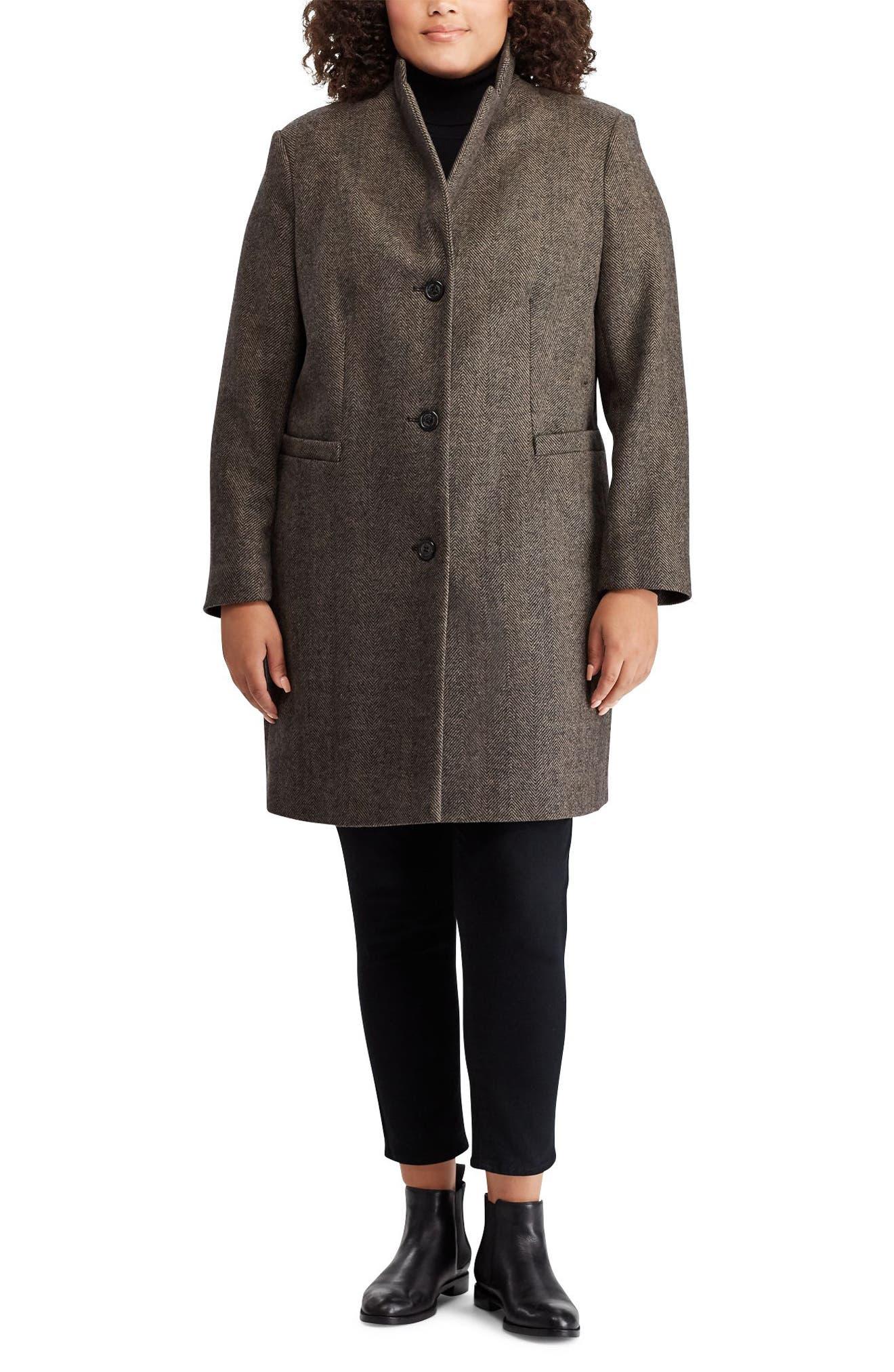 LAUREN RALPH LAUREN,                             Herringbone Wool Blend Reefer Coat,                             Alternate thumbnail 3, color,                             008