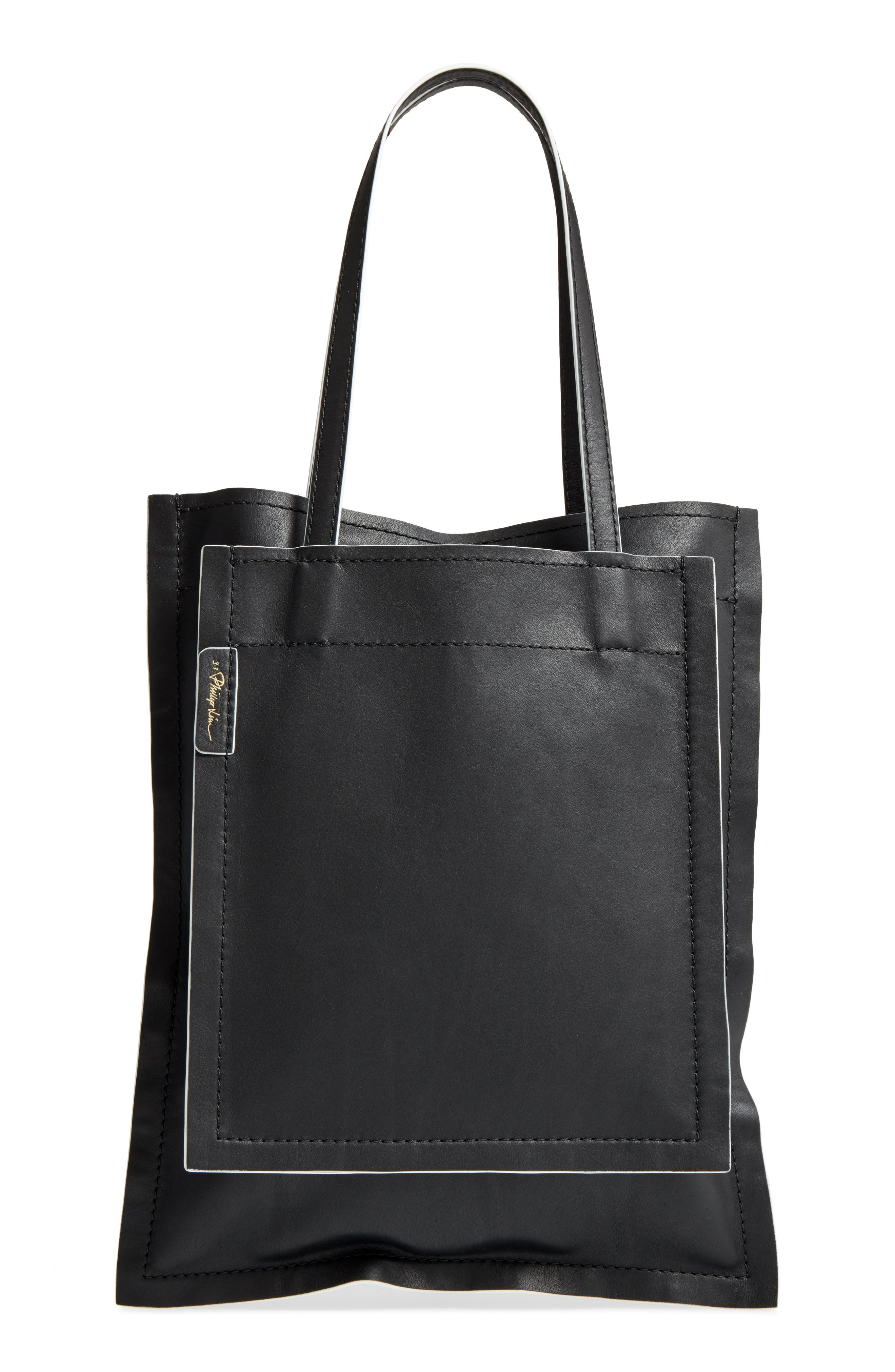 Leather Slim Accordion Tote,                             Main thumbnail 1, color,                             001