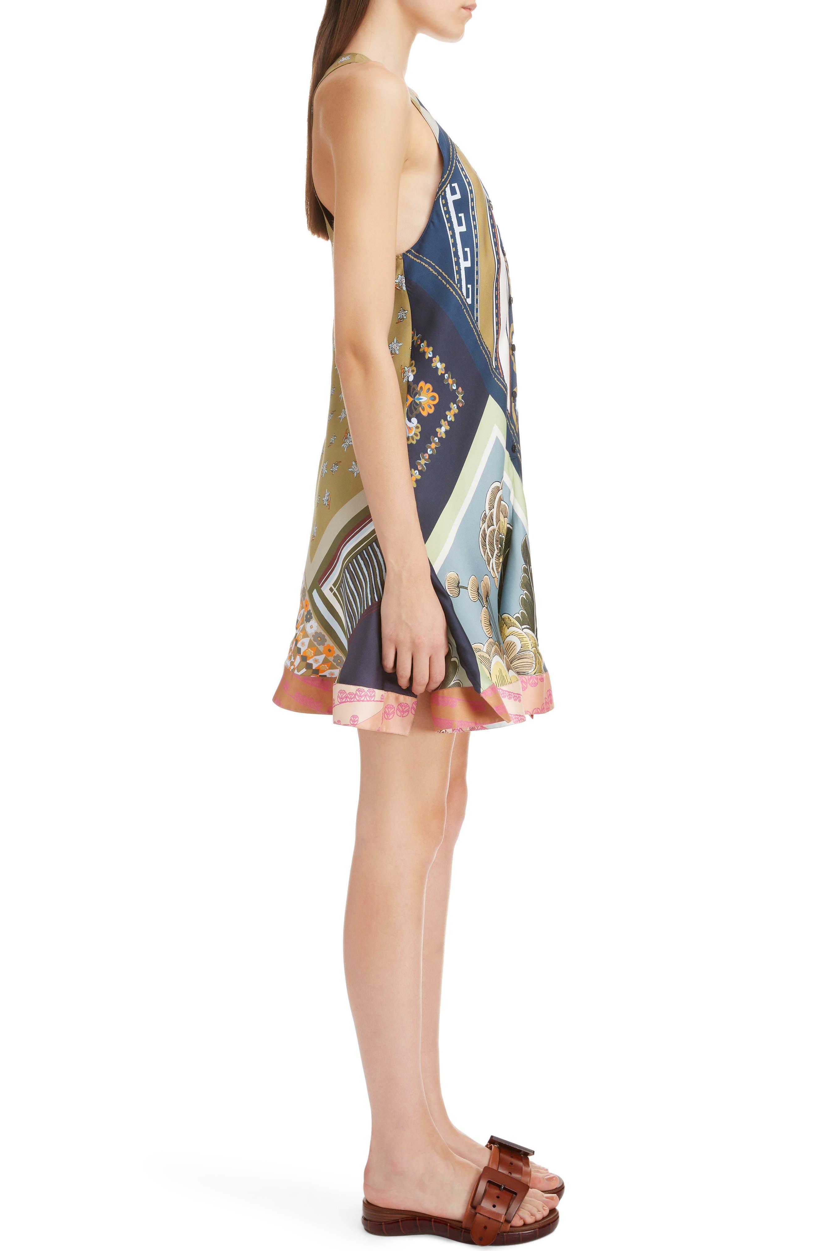 CHLOÉ,                             Caravan Print Silk Racerback Dress,                             Alternate thumbnail 3, color,                             MULTICOLOR BLUE