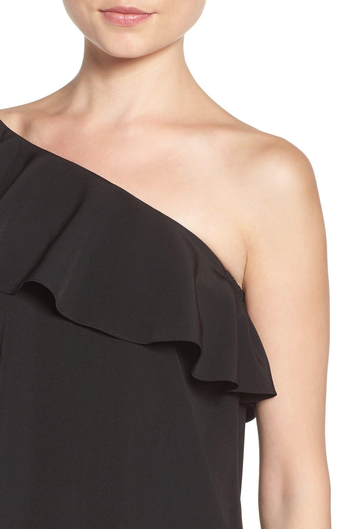 A BY AMANDA,                             Luella One-Shoulder Dress,                             Alternate thumbnail 5, color,                             001