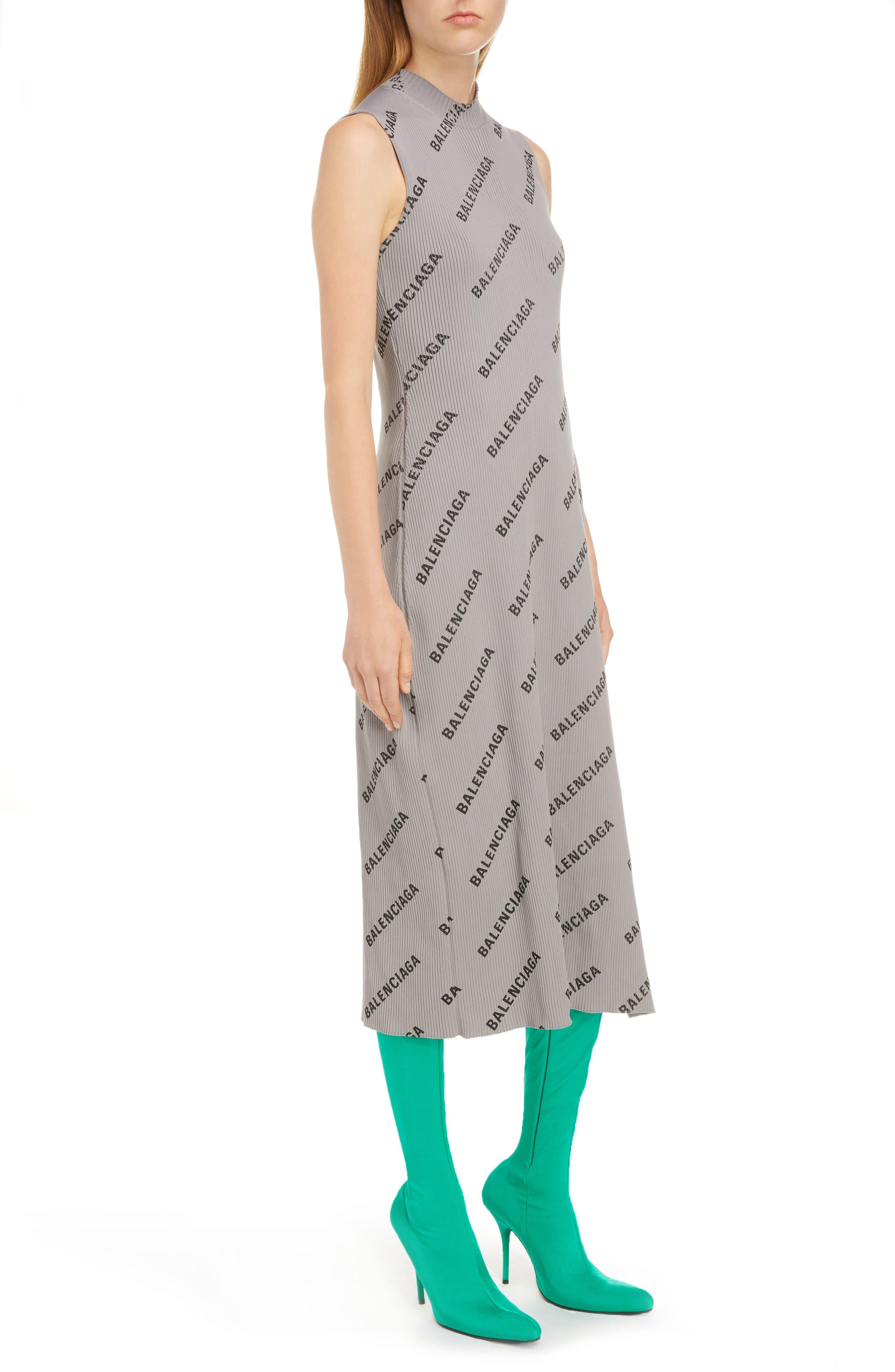 Balenciaga Logo Print Rib Knit Wrap Dress, Metallic