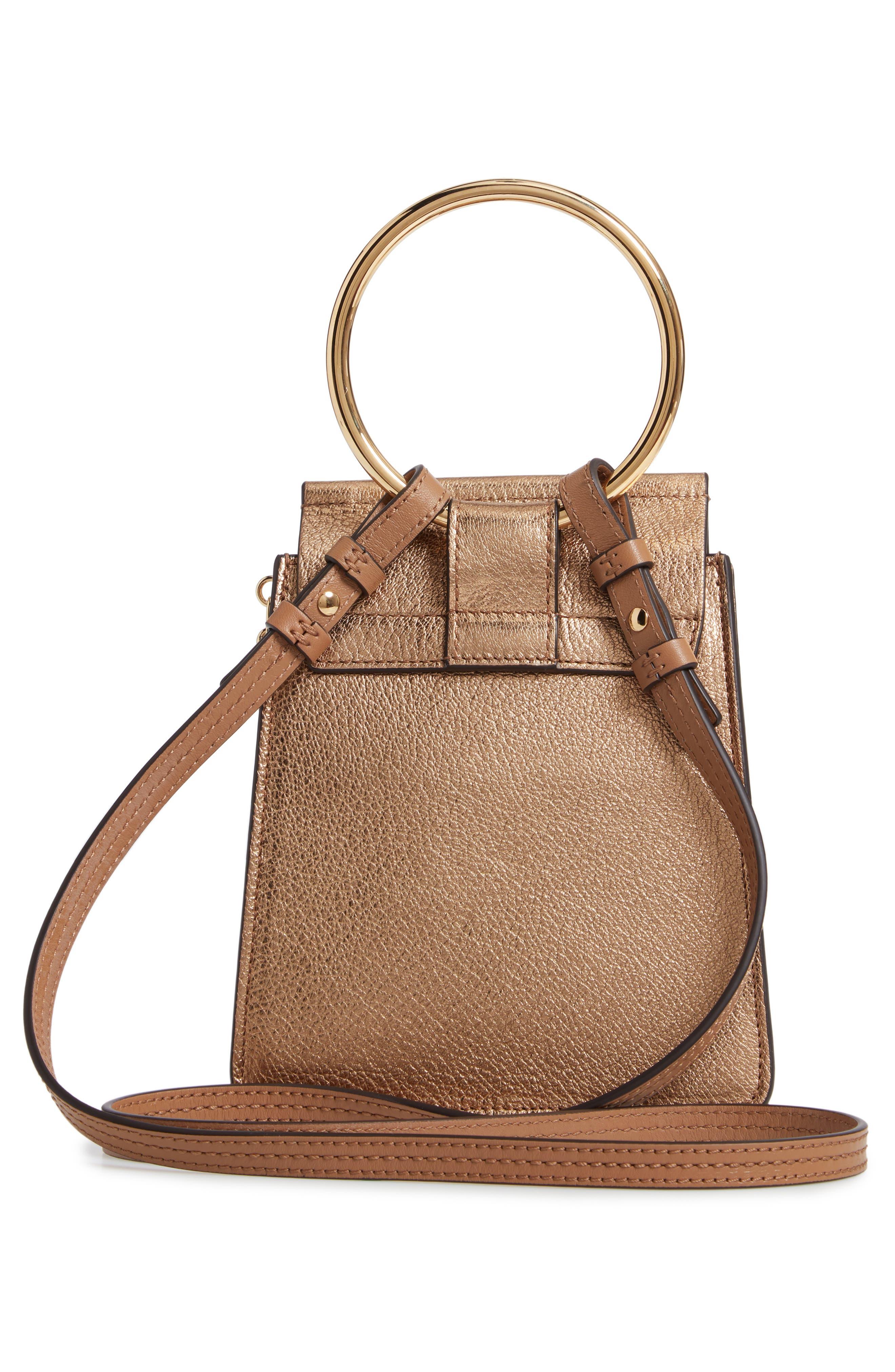 Faye Small Metallic Leather Bracelet Bag,                             Alternate thumbnail 4, color,                             GOLD