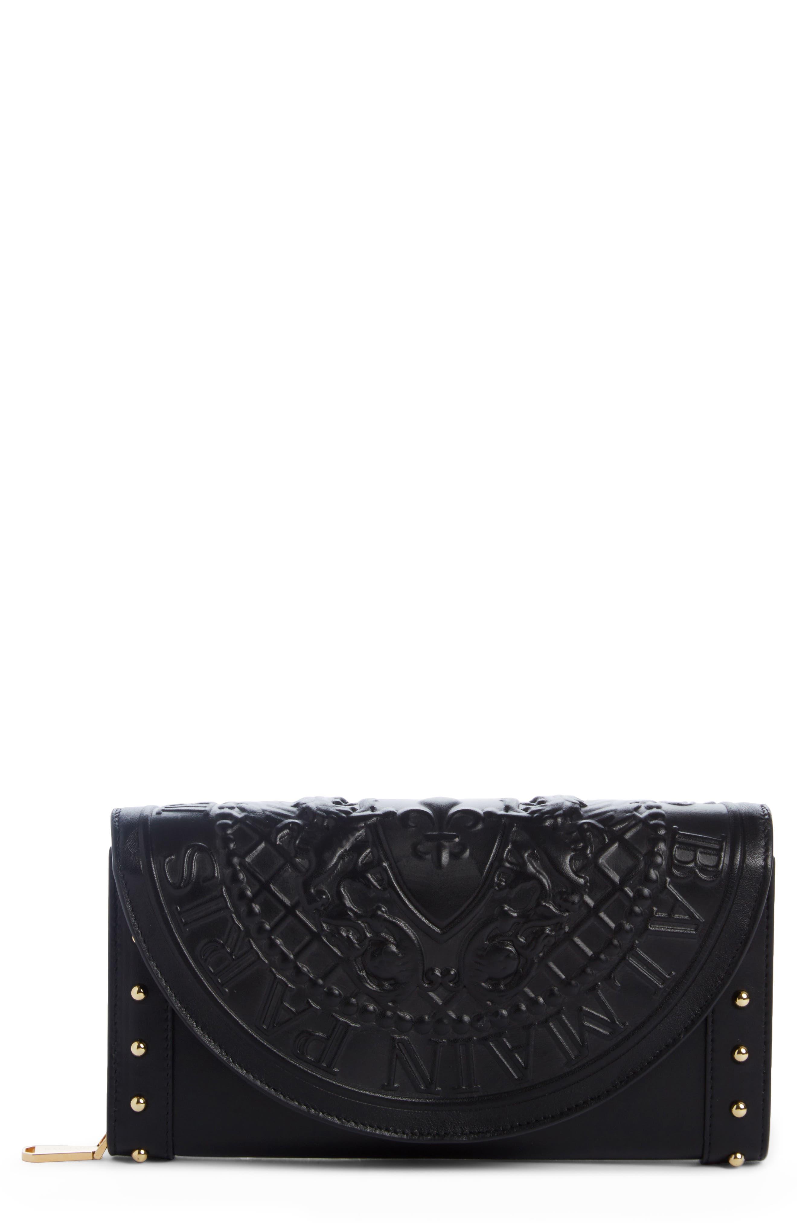 Renaissance Leather Wallet on a Chain,                             Main thumbnail 1, color,                             NOIR