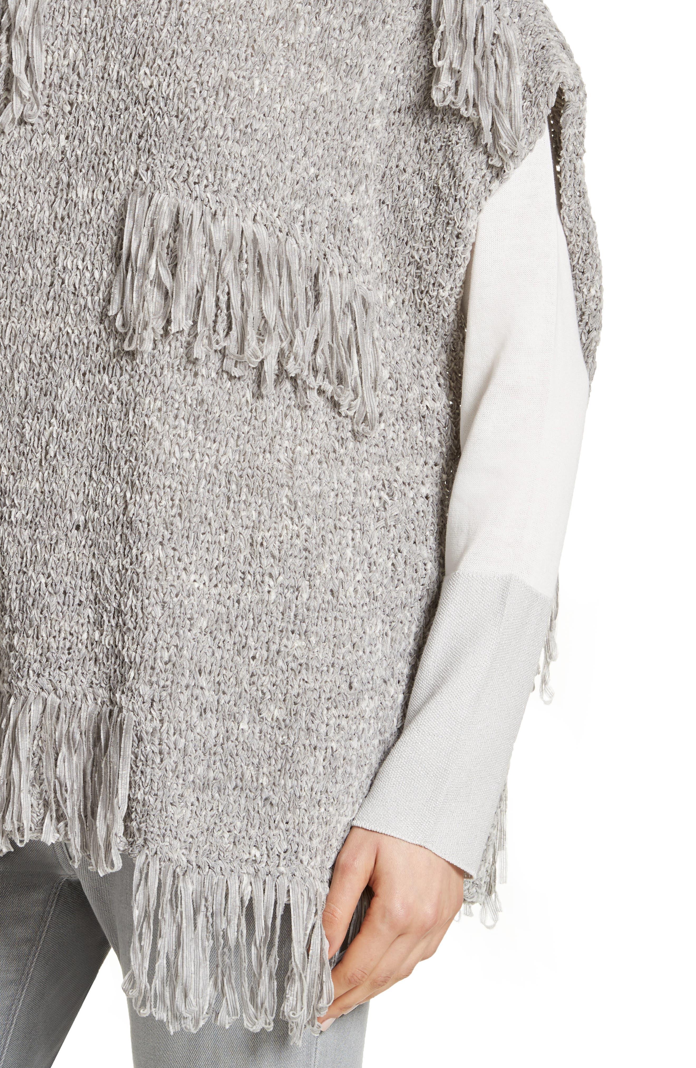 Fringe Chenille Knit Poncho Sweater,                             Alternate thumbnail 4, color,                             020