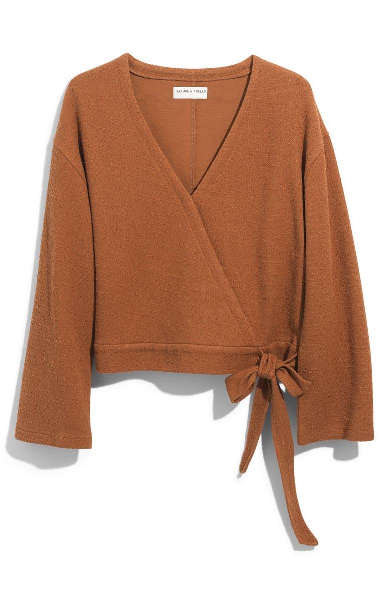 Texture & Thread Wrap Top, Main, color, BURNISHED CEDAR