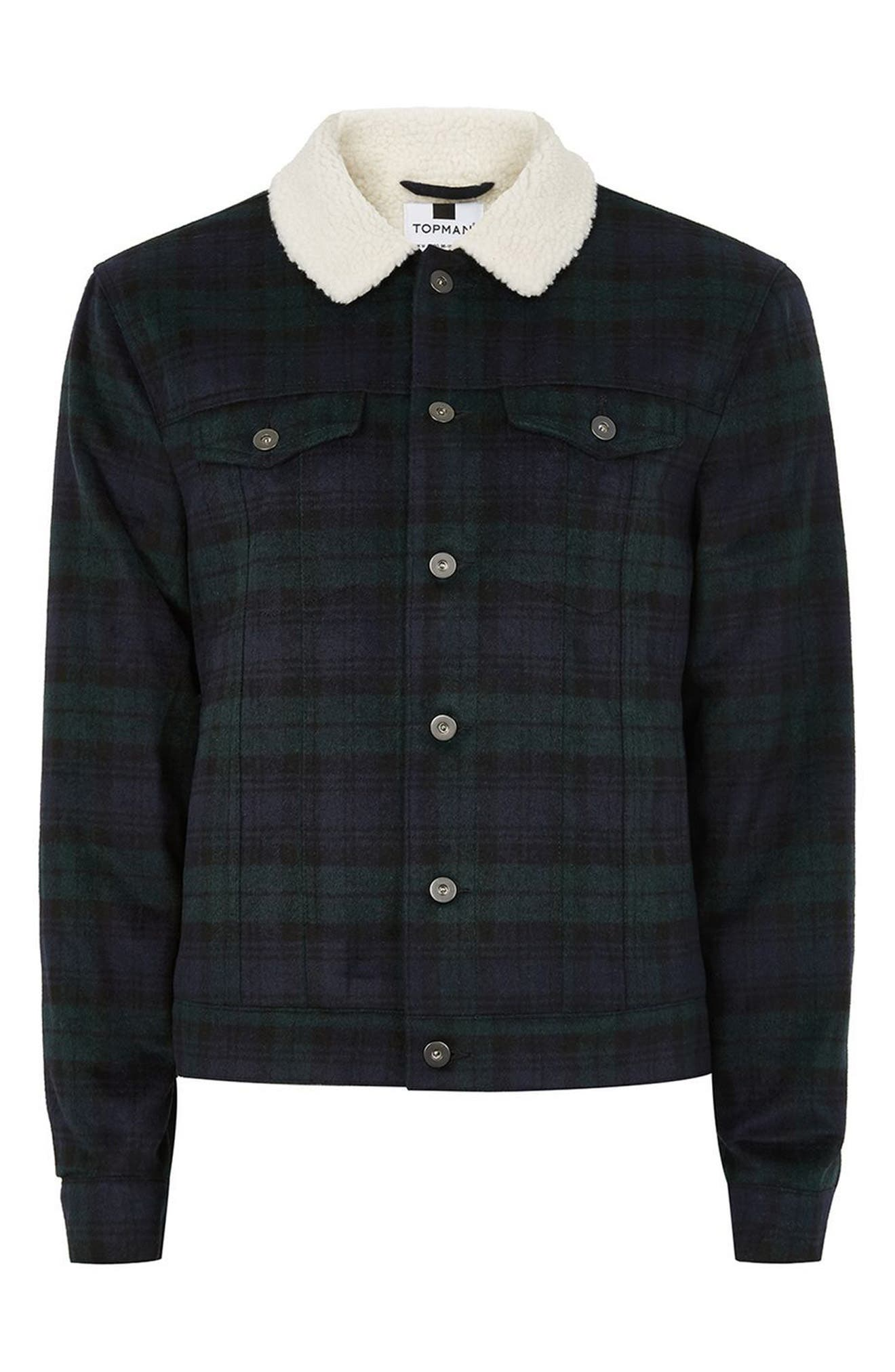 Borg Collar Black Watch Plaid Western Jacket,                             Alternate thumbnail 4, color,                             430