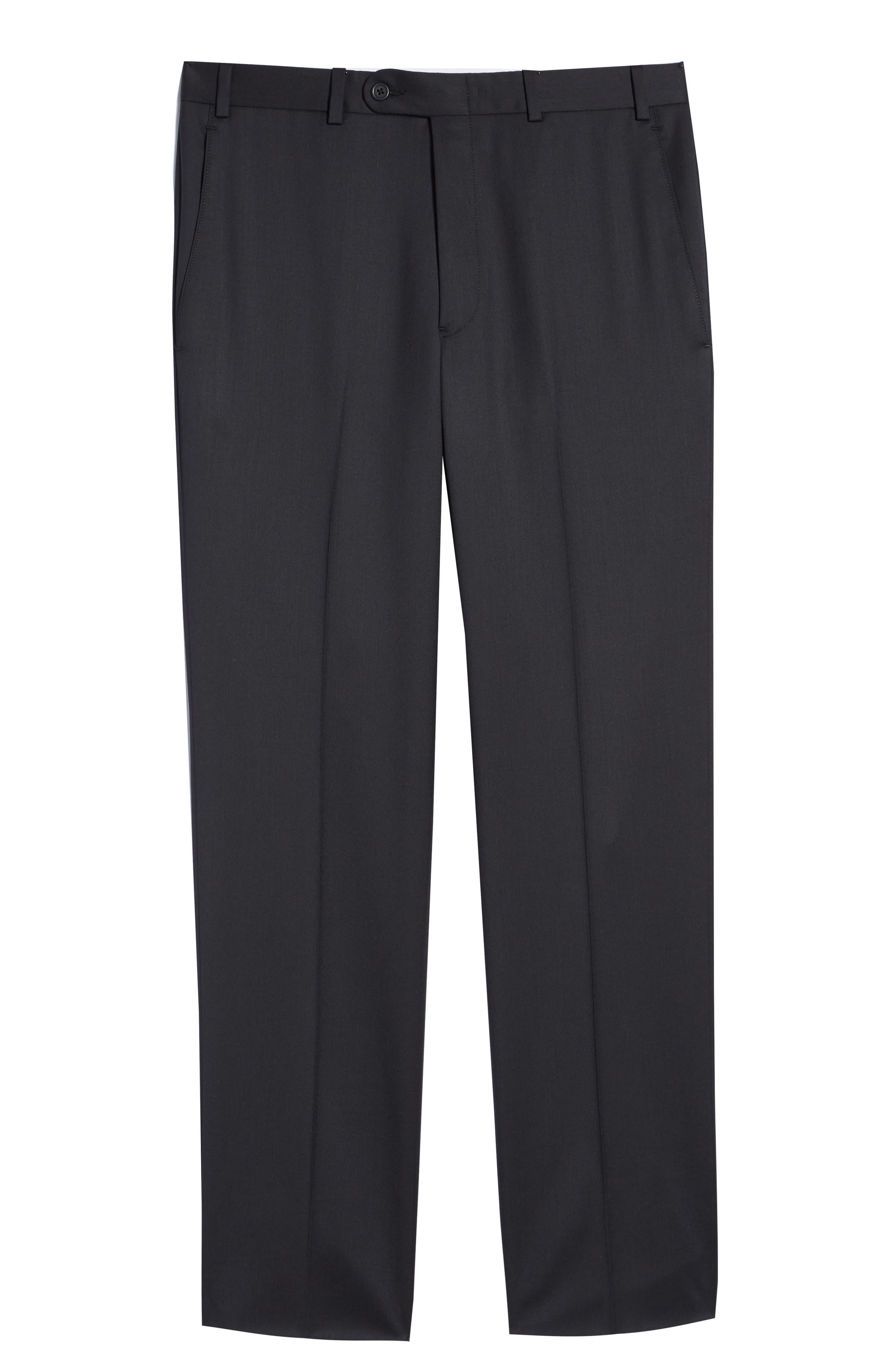 Torino Flat Front Wool Gabardine Trousers,                             Alternate thumbnail 35, color,