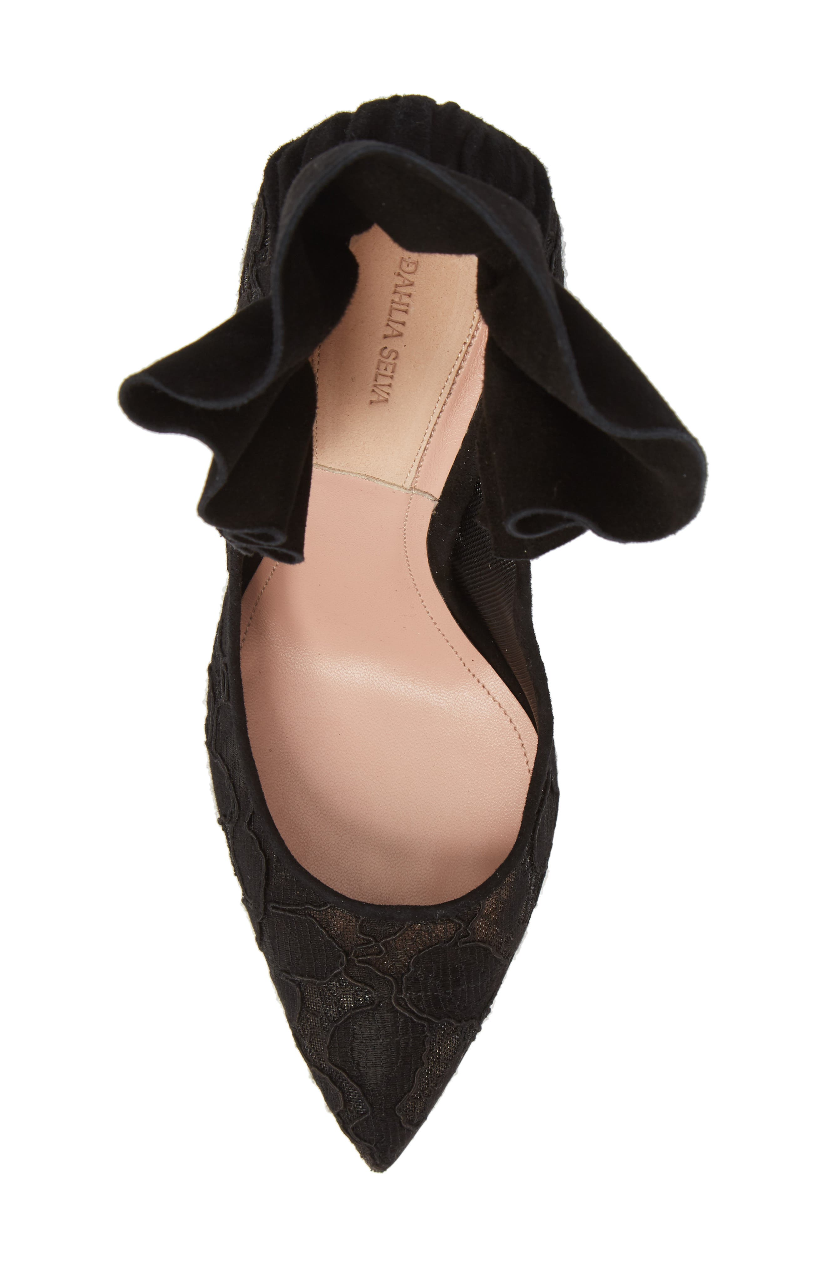 Frills For All Pointy Toe Pump,                             Alternate thumbnail 5, color,                             BLACK
