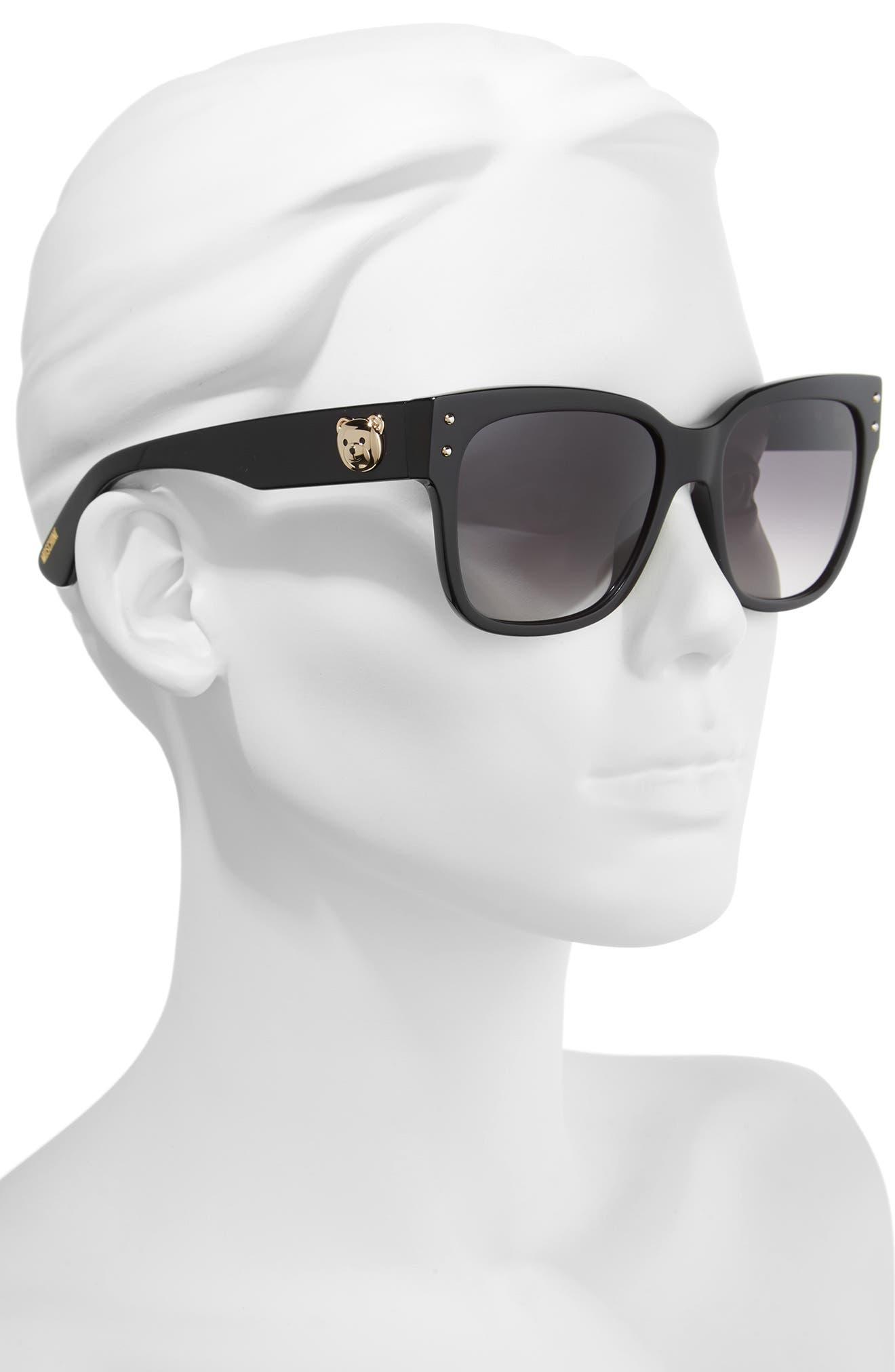 56mm Gradient Lens Sunglasses,                             Alternate thumbnail 2, color,                             BLACK